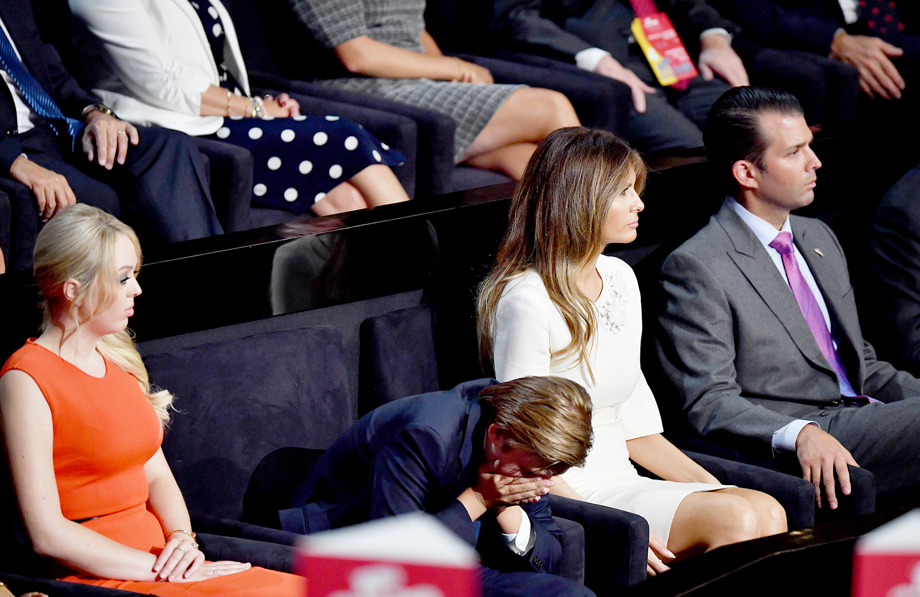 Tiffany Trump, Barron Trump, Melania Trump and Donald Trump Jr. listen to Republican presidential candidate Donald Trump deliver his speech on the fourth day of the Republican National Convention on July 21, 2016 at the Quicken Loans Arena in Cleveland, Ohio.