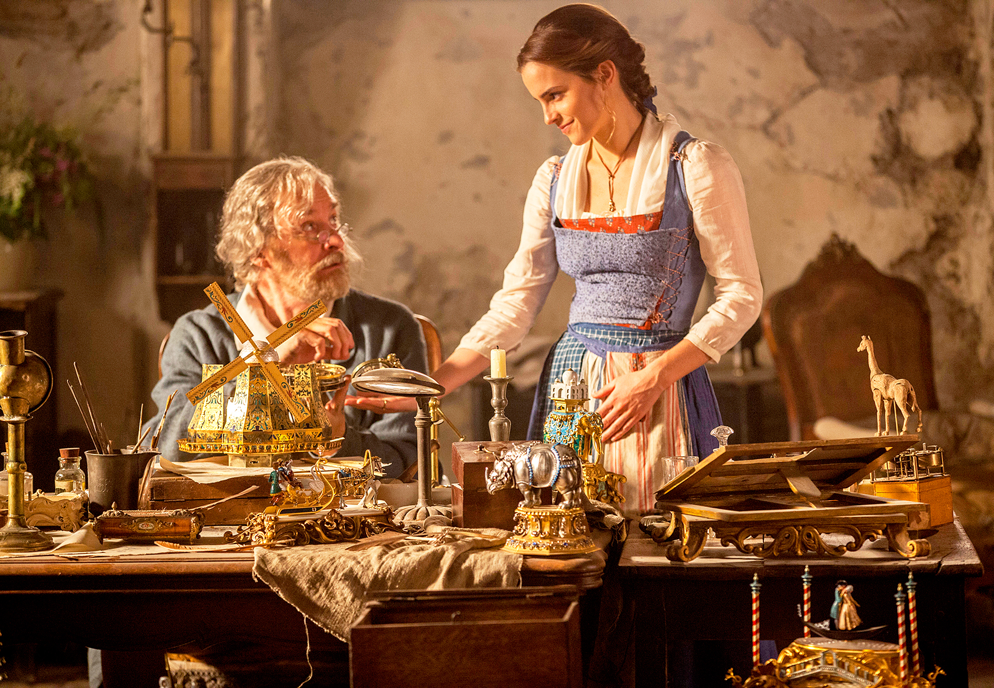 Kevin Kline and Emma Watson Beauty and the Beast