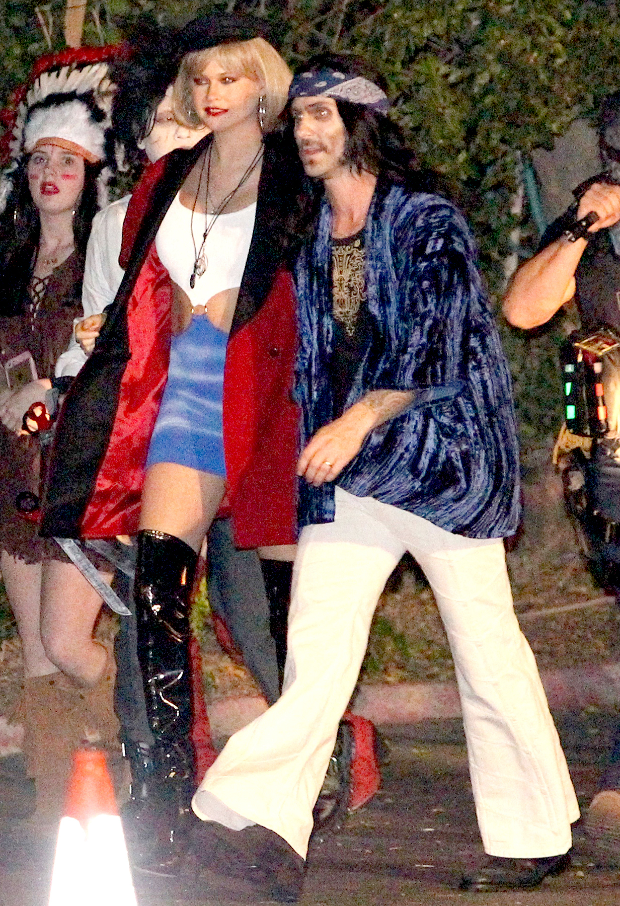 Adam Levine and Behati Prinsloo arrived at the Maroon 5 annual Halloween party Adam Levine dressed as Led Zeppelin and Behati dressed as Julia Roberts in pretty woman.