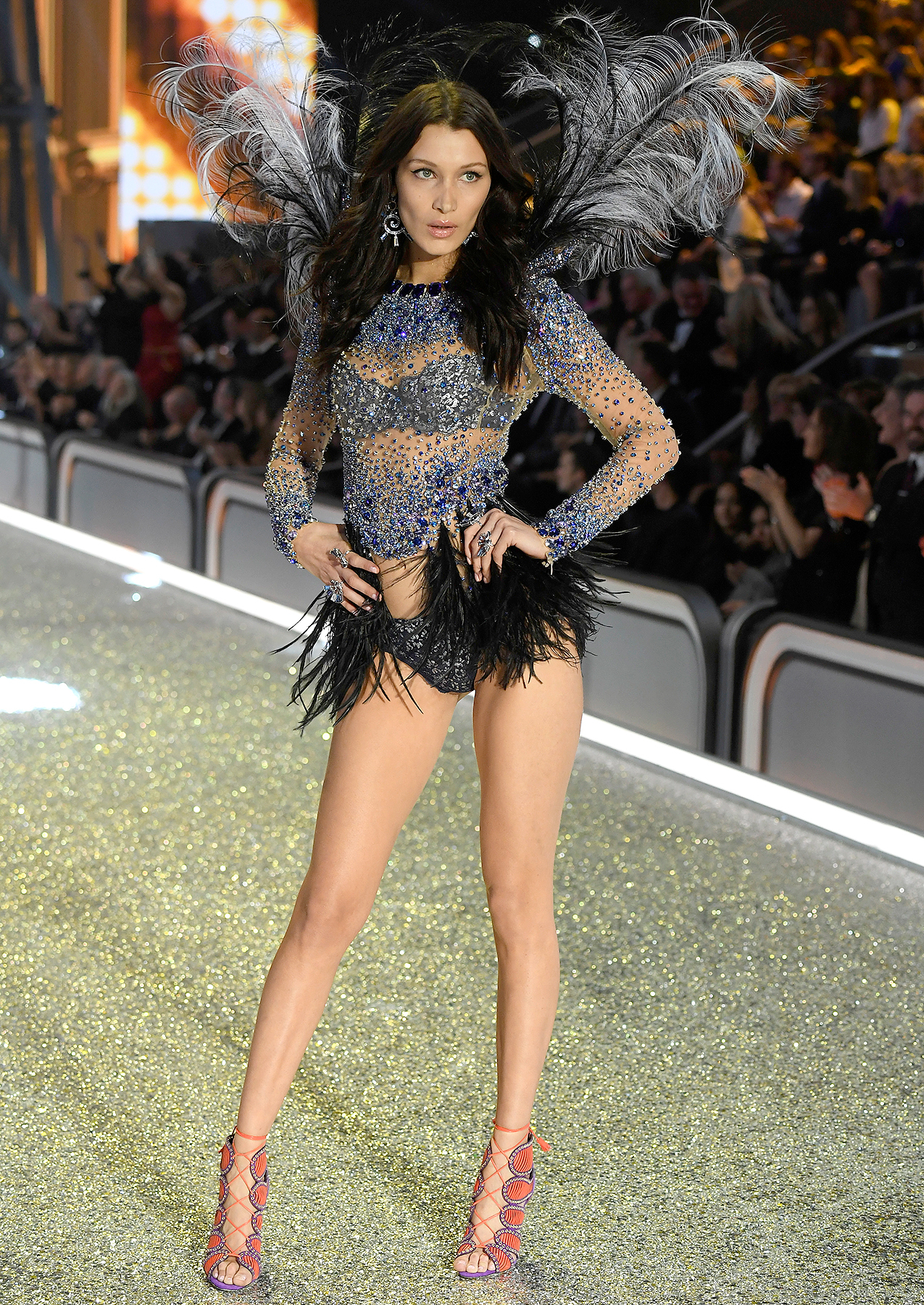 Bella Hadid walks the runway at the Victoria's Secret Fashion Show on November 30, 2016 in Paris, France.