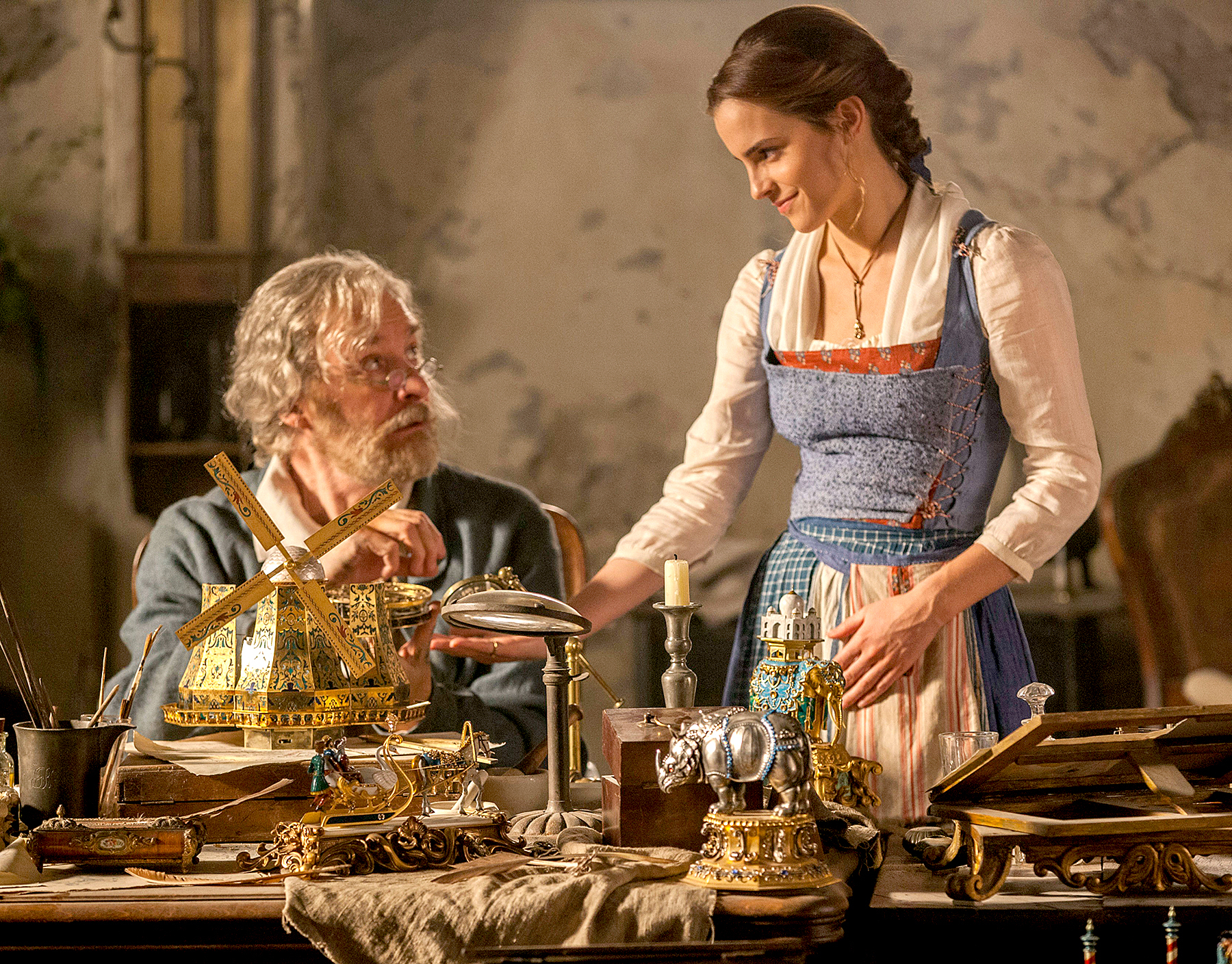Kevin Kline and Emma Watson in Disney's Beauty and the Beast