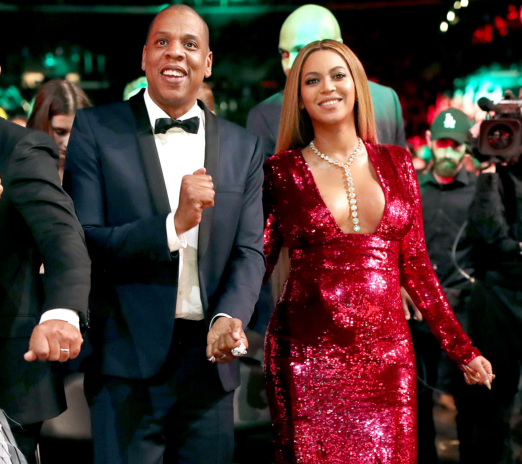 Jay Z and Beyoncé during The 59th GRAMMY Awards at STAPLES Center on February 12, 2017 in Los Angeles, California.