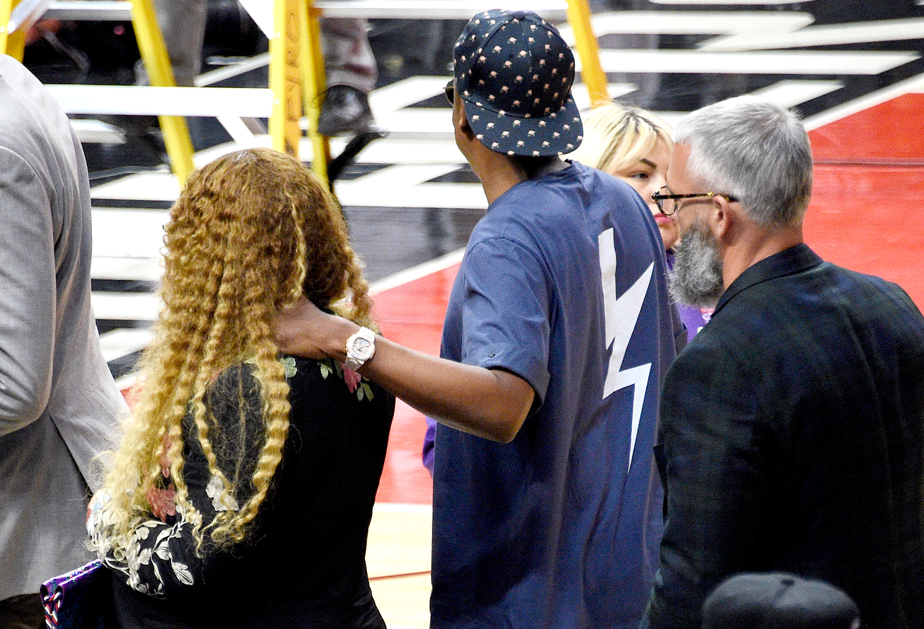 Beyonce and Jay Z attend Game Seven of the Western Conference Quarterfinals of the 2017 NBA Playoffs on April 30, 2017 at STAPLES Center in Los Angeles, California.
