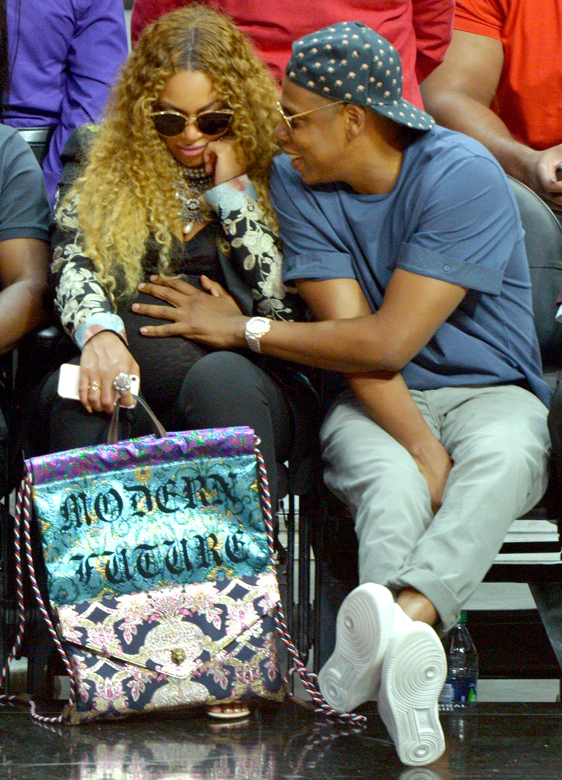 Beyonce and Jay Z attend the Utah Jazz vs Los Angles Clippers NBA Western Conference Game.