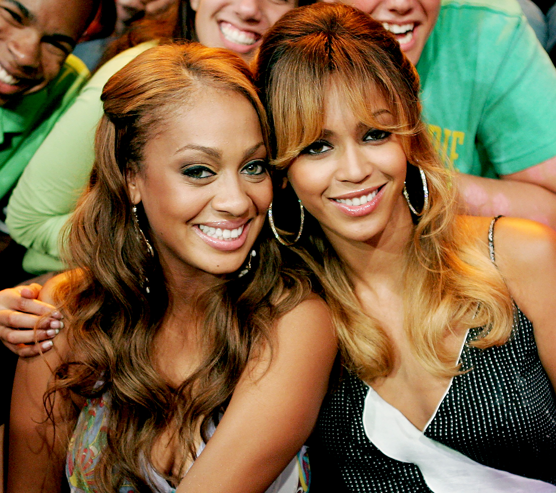 La La Anthony and Knowles pose during MTV's 'Total Request Live' at MTV Studios in New York City July 12, 2006.