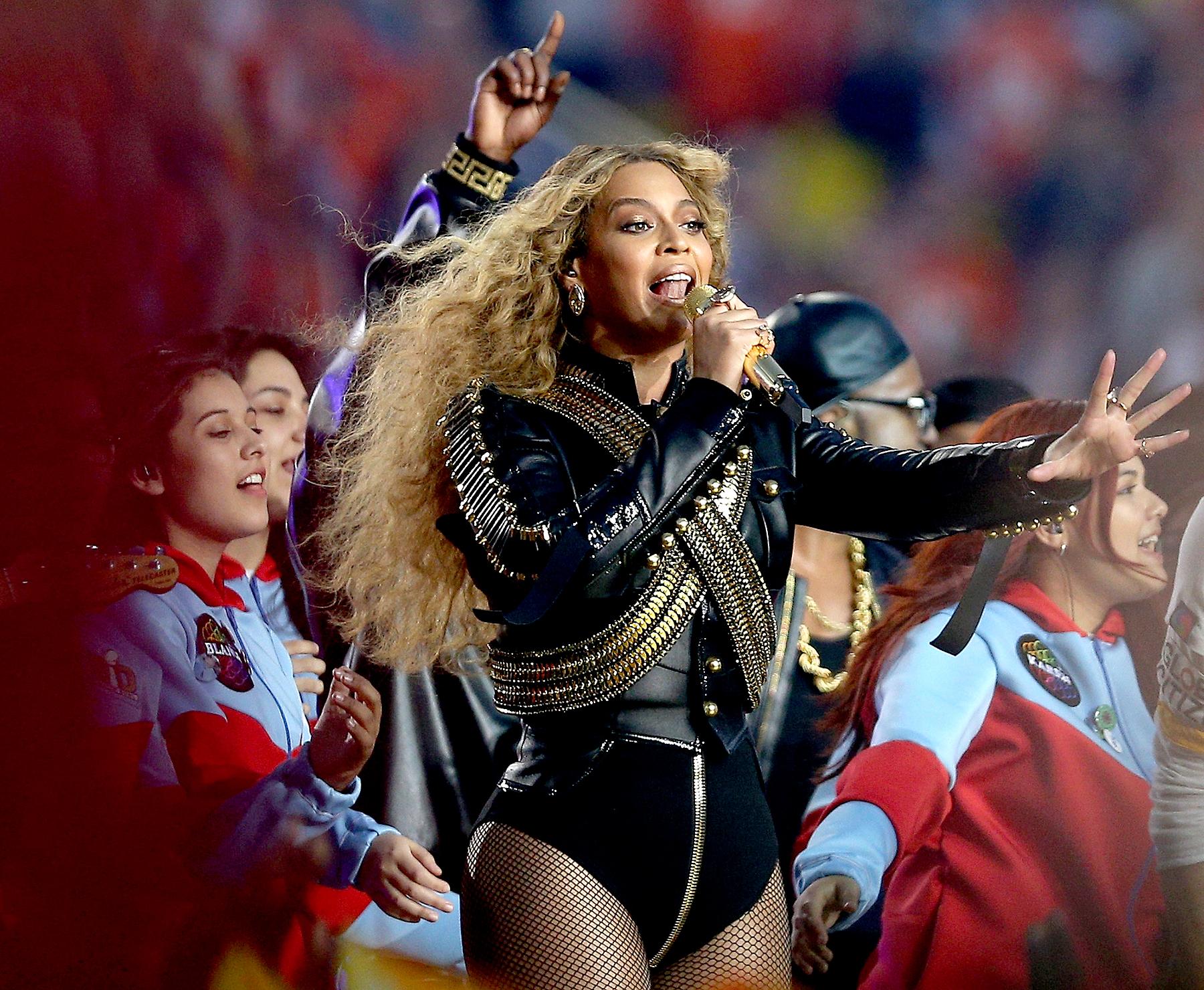 Beyoncé performs during the Pepsi Super Bowl 50 halftime show.