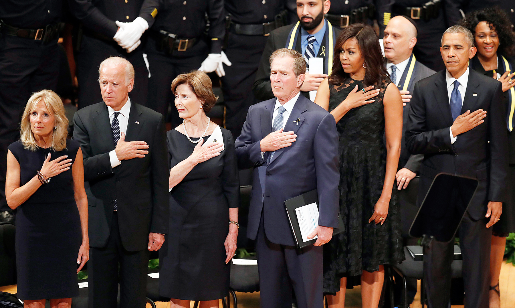 Jill Biden Joe Biden George Bush Michelle Obama Barack Obama Dallas memorial