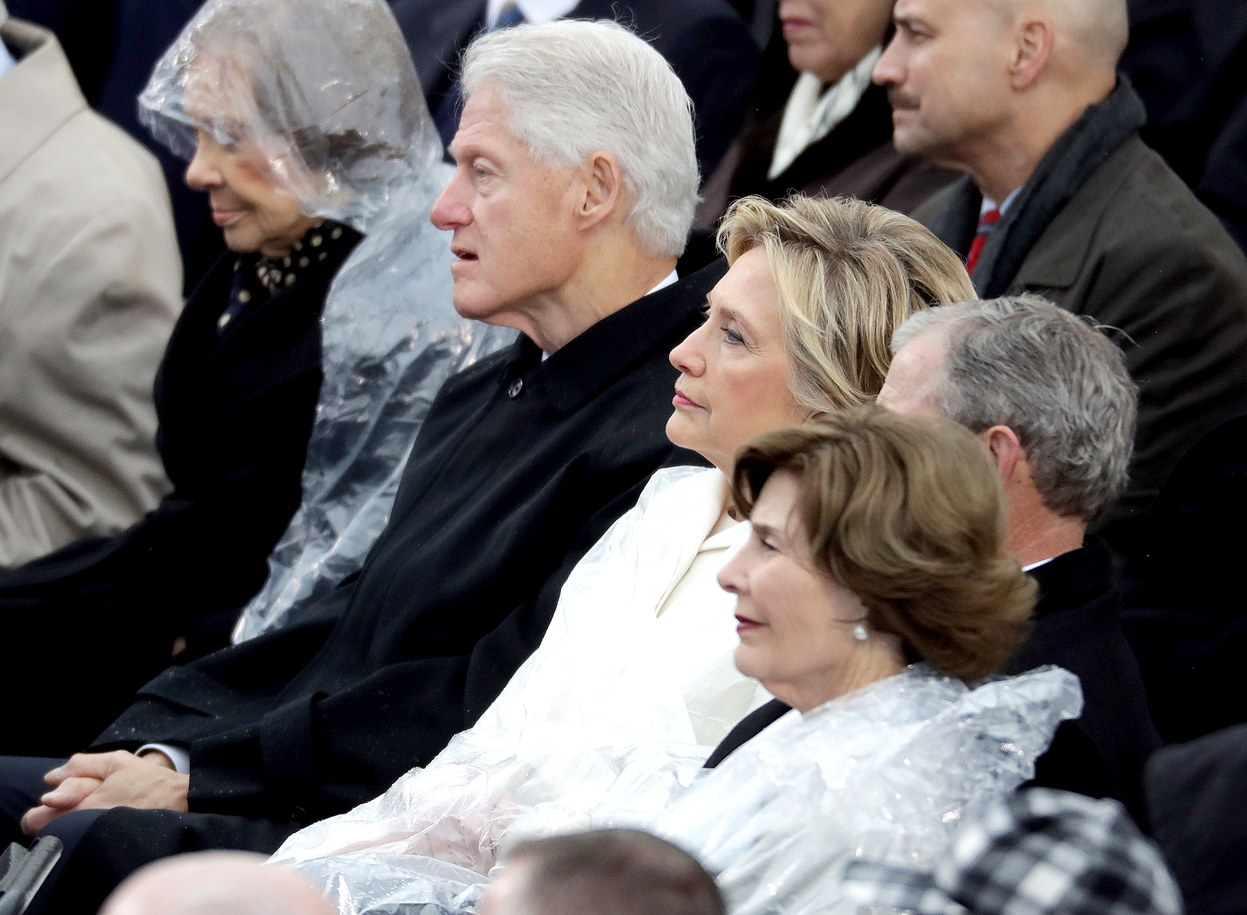Former President Jimmy Carter, former first lady Rosalynn Carter, former President Bill Clinton, former Democratic presidential nominee Hillary Clinton, former President George W. Bush and former first lady Laura Bush watch President Donald Trump's inaugural address on the West Front of the U.S. Capitol on January 20, 2017 in Washington, DC.