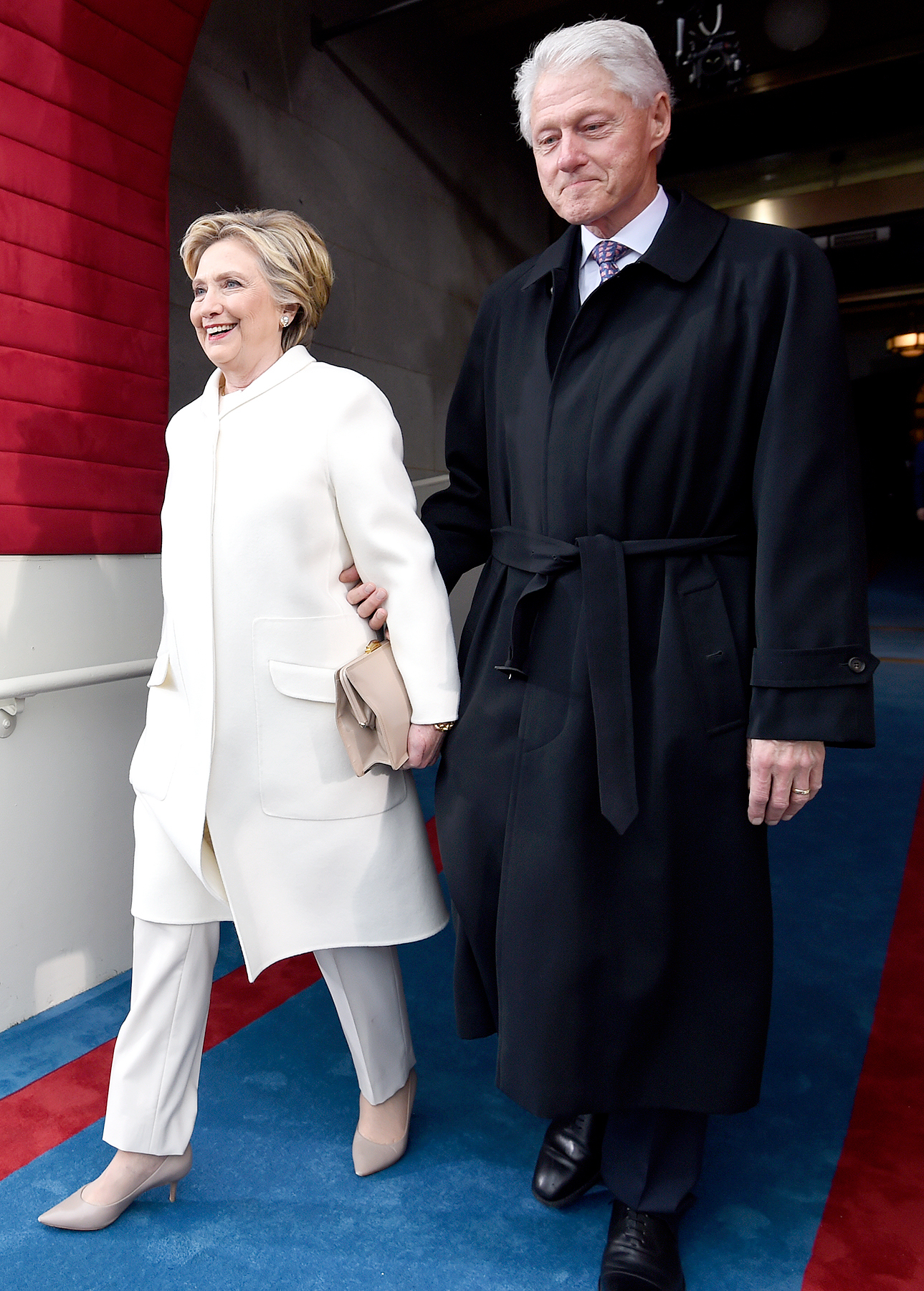 Former US President Bill Clinton and First Lady Hillary Clinton arrive for the Presidential Inauguration of Donald Trump at the US Capitol on January 20, 2017 in Washington, DC.