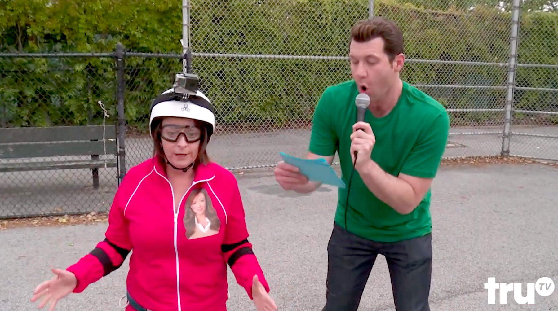 Leah Remini's Escape from Scientology features Rachel Dratch as Remini, making her way through a goofy course with Billy Eichner.