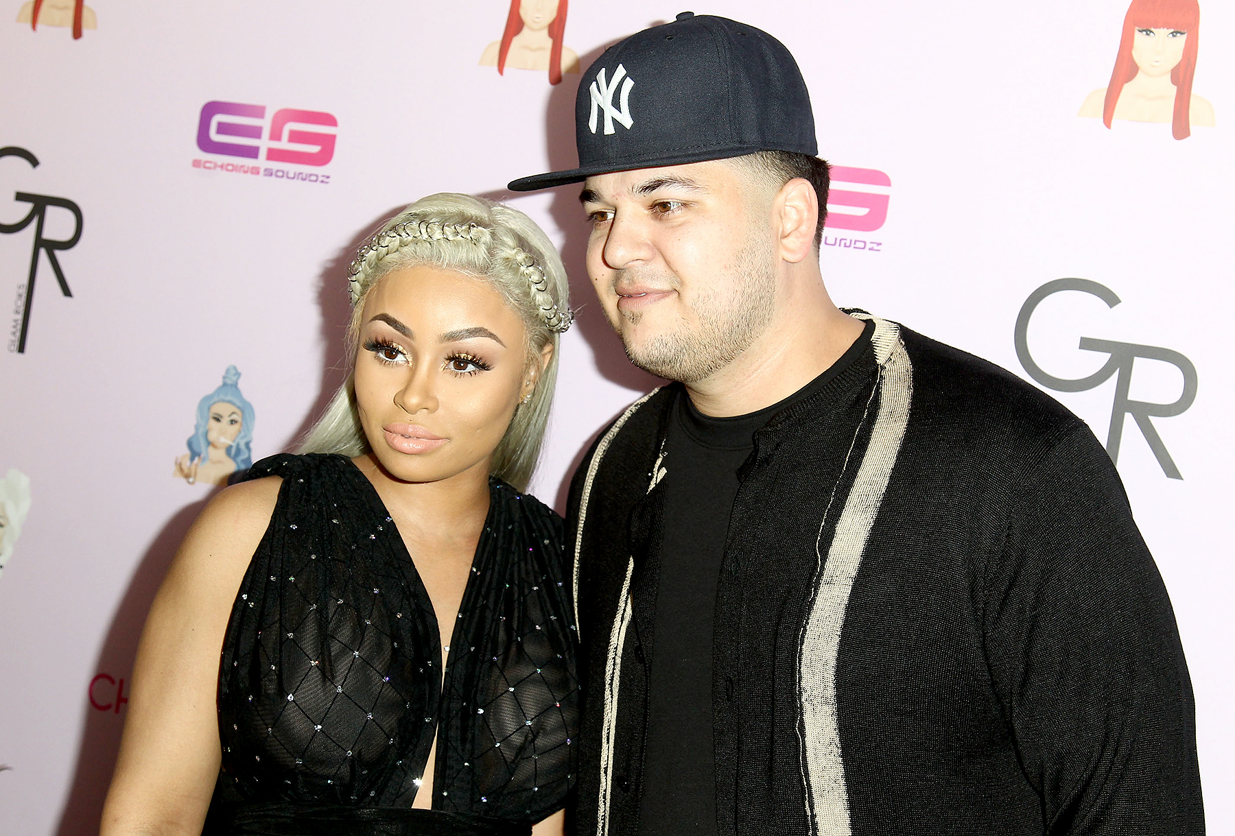 Blac Chyna and Rob Kardashian attend a birthday celebration and unveiling of her 'Chymoji' Emoji collection at Hard Rock Cafe in Hollywood on May 10, 2016.