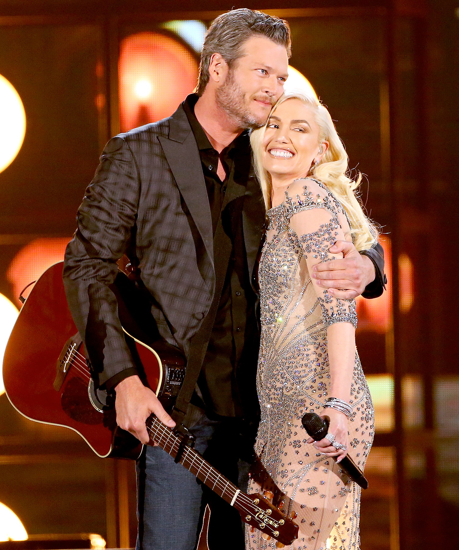Blake Shelton and Gwen Stefani are seen on stage during the 2016 'Billboard' Music Awards.