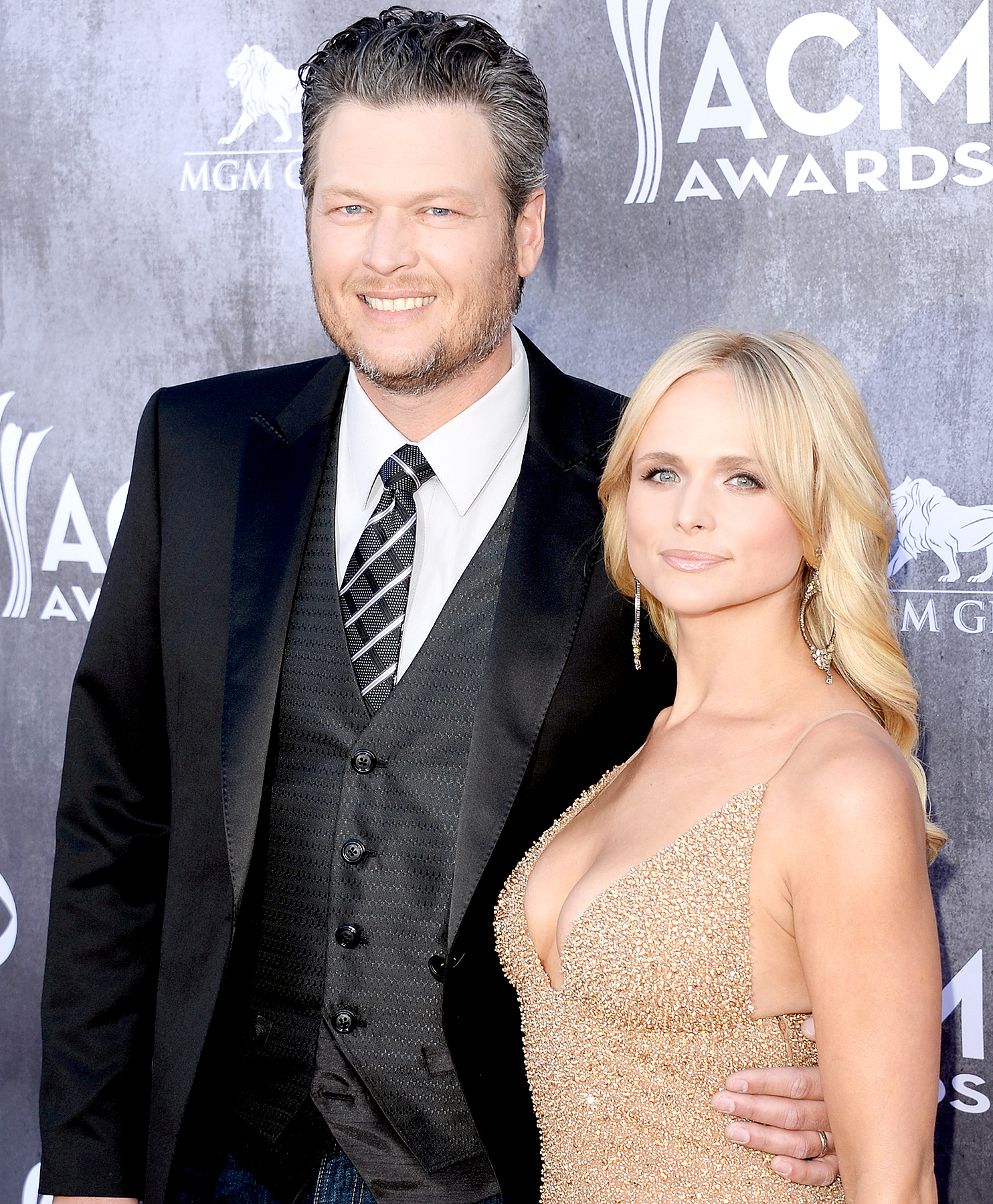 Blake Shelton and Miranda Lambert attend the 49th Annual Academy Of Country Music Awards at the MGM Grand Garden Arena on April 6, 2014 in Las Vegas.