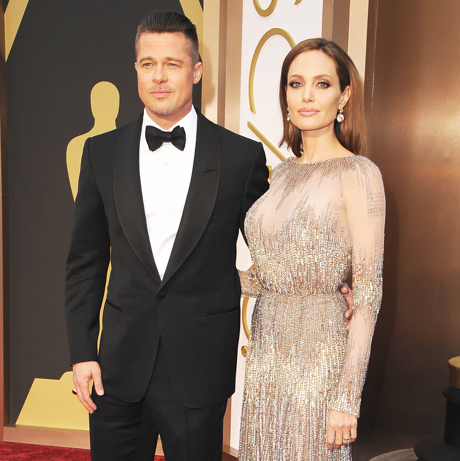 Brad Pitt and Angelina Jolie attend the Oscars held at Hollywood & Highland Center on March 2, 2014 in Hollywood, California.