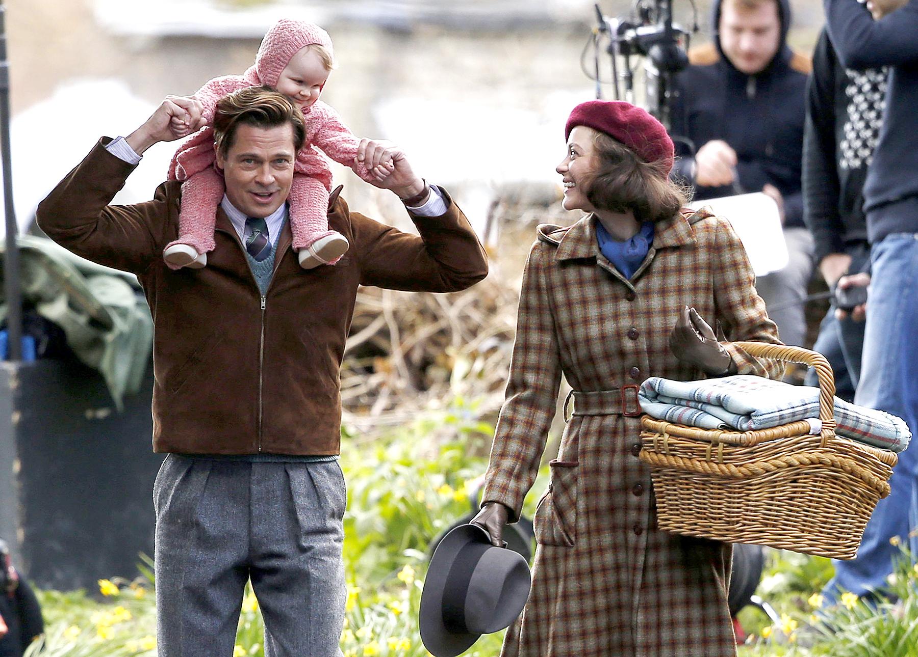 Brad Pitt and Marion Cotillard filming in London.
