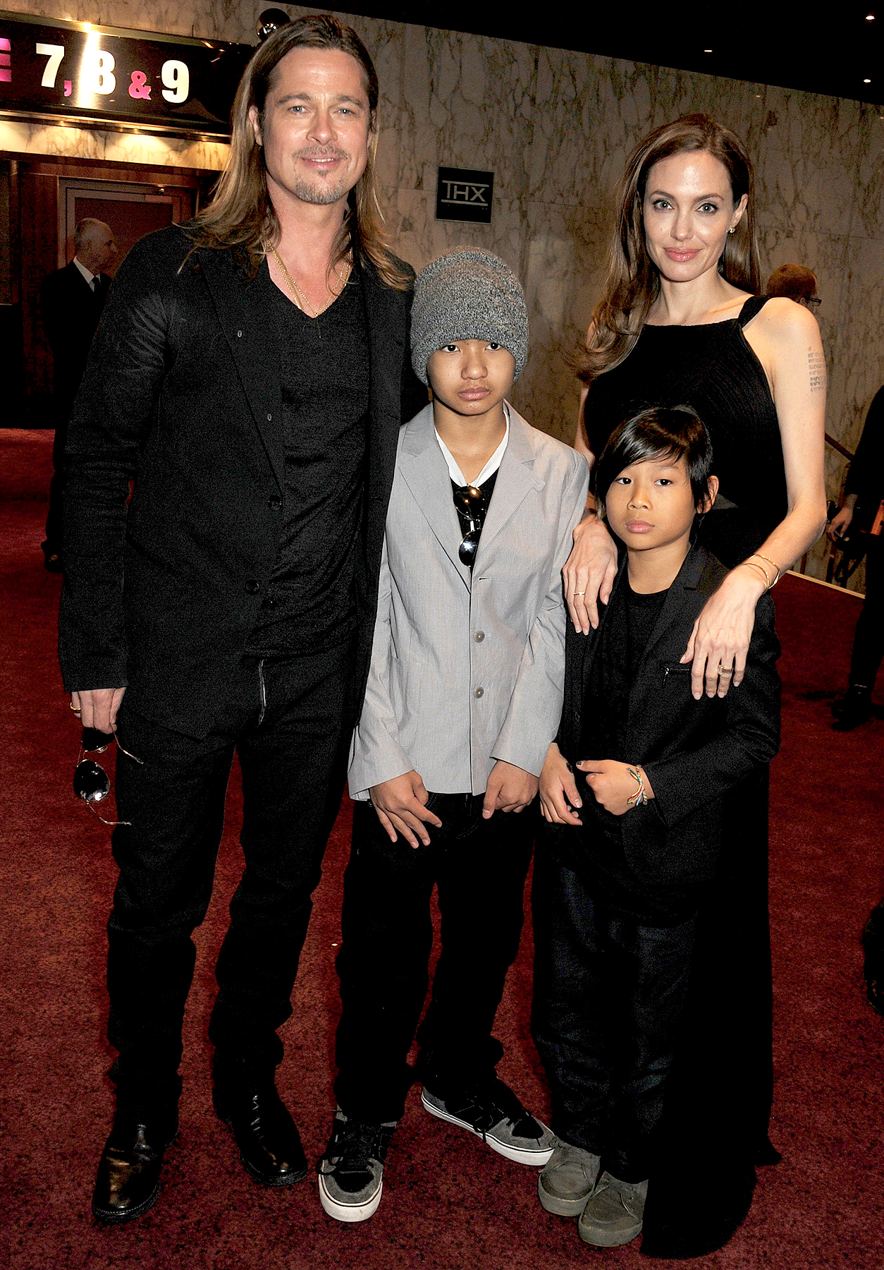 Brad Pitt, Maddox Jolie-Pitt, Pax Jolie-Pitt and Angelina Jolie attend the World Premiere of 'World War Z' at The Empire Cinema Leicester Square on June 2, 2013 in London, England.