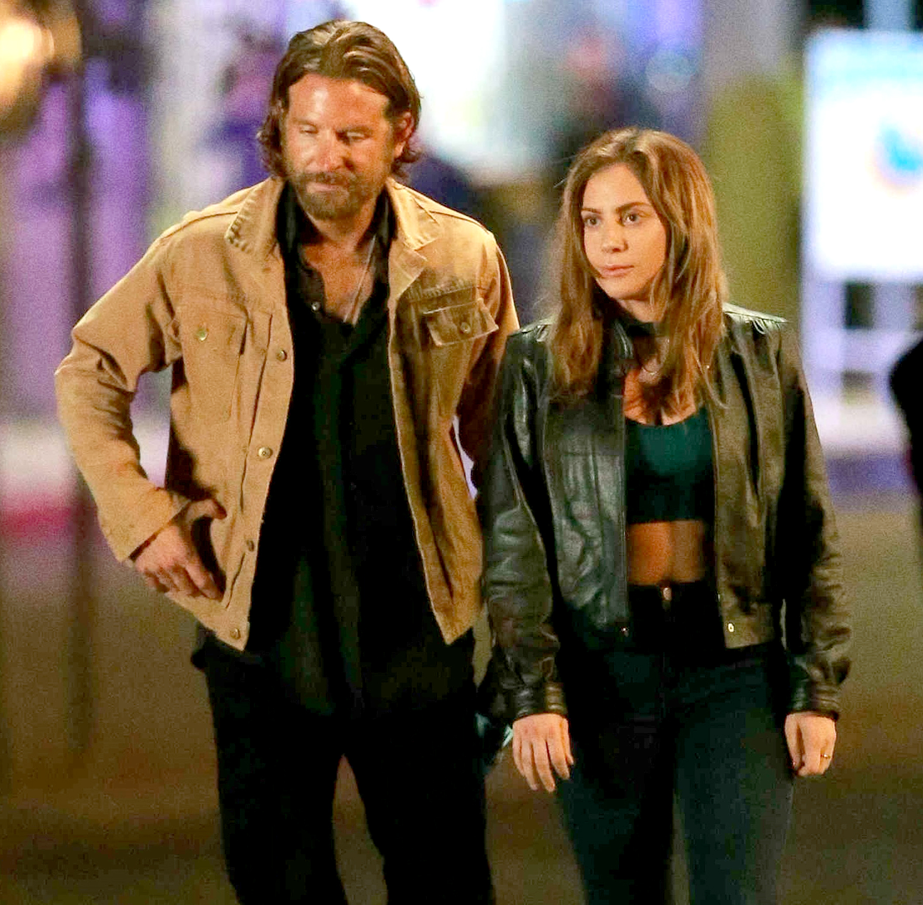 Bradley Cooper is spotted on a night time shoot for his latest project with singer Lady Gaga, 'A Star is Born' on May 5, 2017.