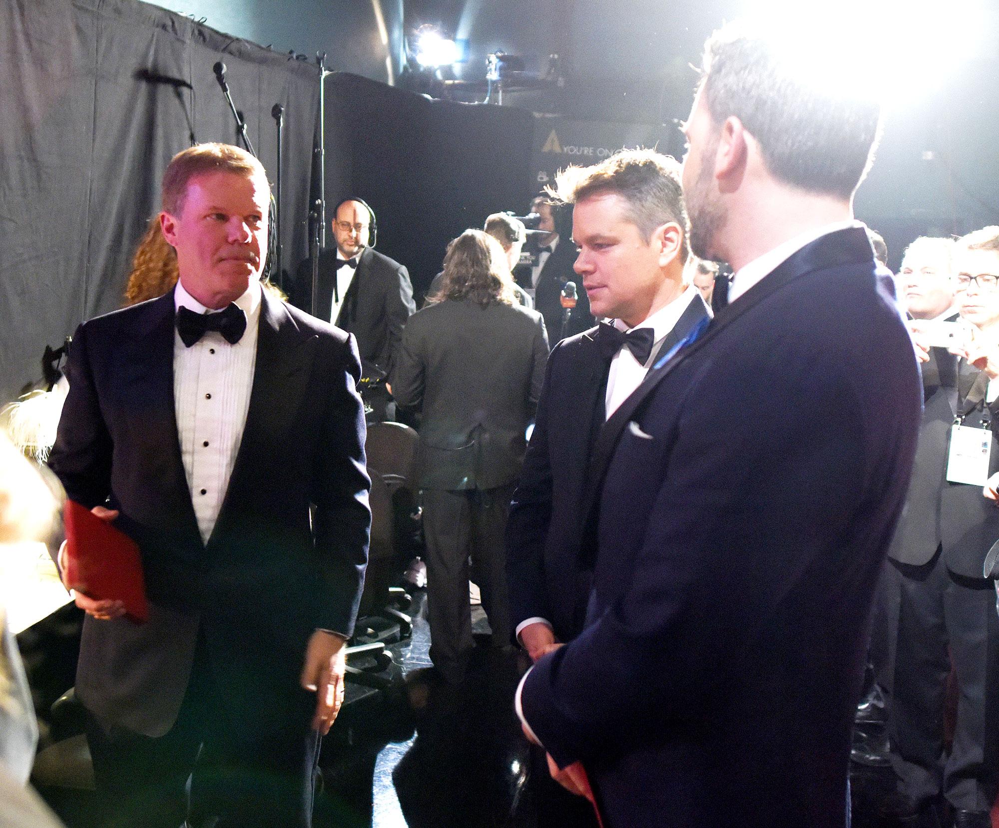 Brian Cullinan, Matt Damon and Ben Affleck backstage