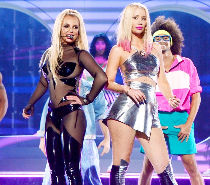 Britney Spears and Iggy Azalea perform at the 2015 Billboard Music Awards.