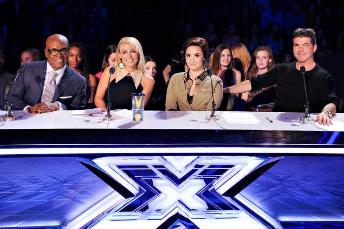 L.A. Reid, Britney Spears, Demi Lovato and Simon Cowell on The X Factor.
