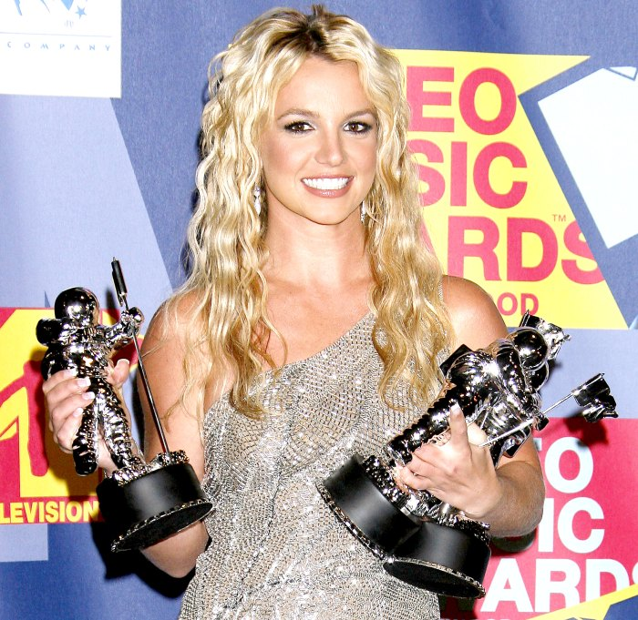Britney Spears poses in the press room at the 2008 MTV Video Music Awards.