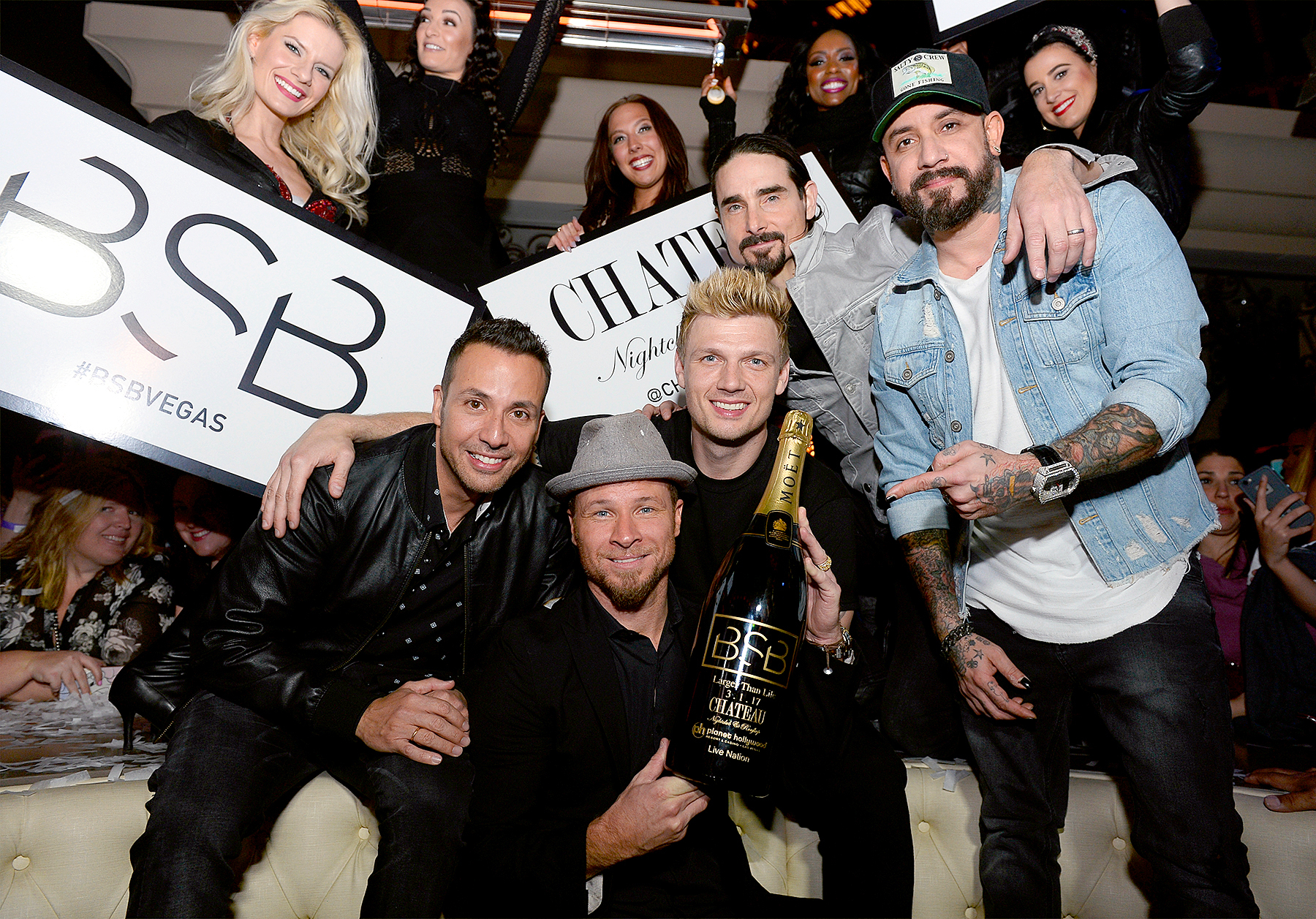 "Howie Dorough, Brian Littrell, Nick Carter, Kevin Richardson and A.J. McLean of the Backstreet Boys attend the after party of the debut of the group's residency ""Larger Than Life"" at the Chateau Nightclub & Rooftop at the Paris Las Vegas on March 2, 2017 in Las Vegas, Nevada."