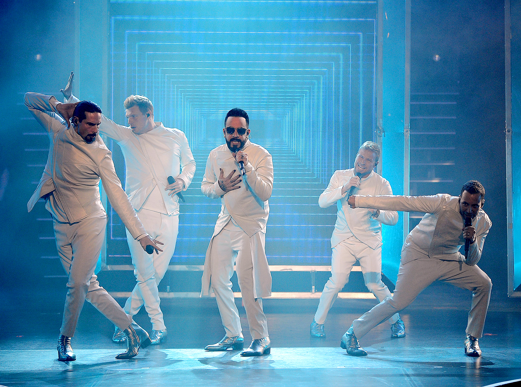 """Kevin Richardson, Nick Carter, AJ McLean, Brian Littrell and Howie Dorough of the Backstreet Boys perform during the launch of the group's residency """"Larger Than Life"""" at The Axis at Planet Hollywood Resort & Casino on March 1, 2017 in Las Vegas, Nevada. in Las Vegas, Nevada."""