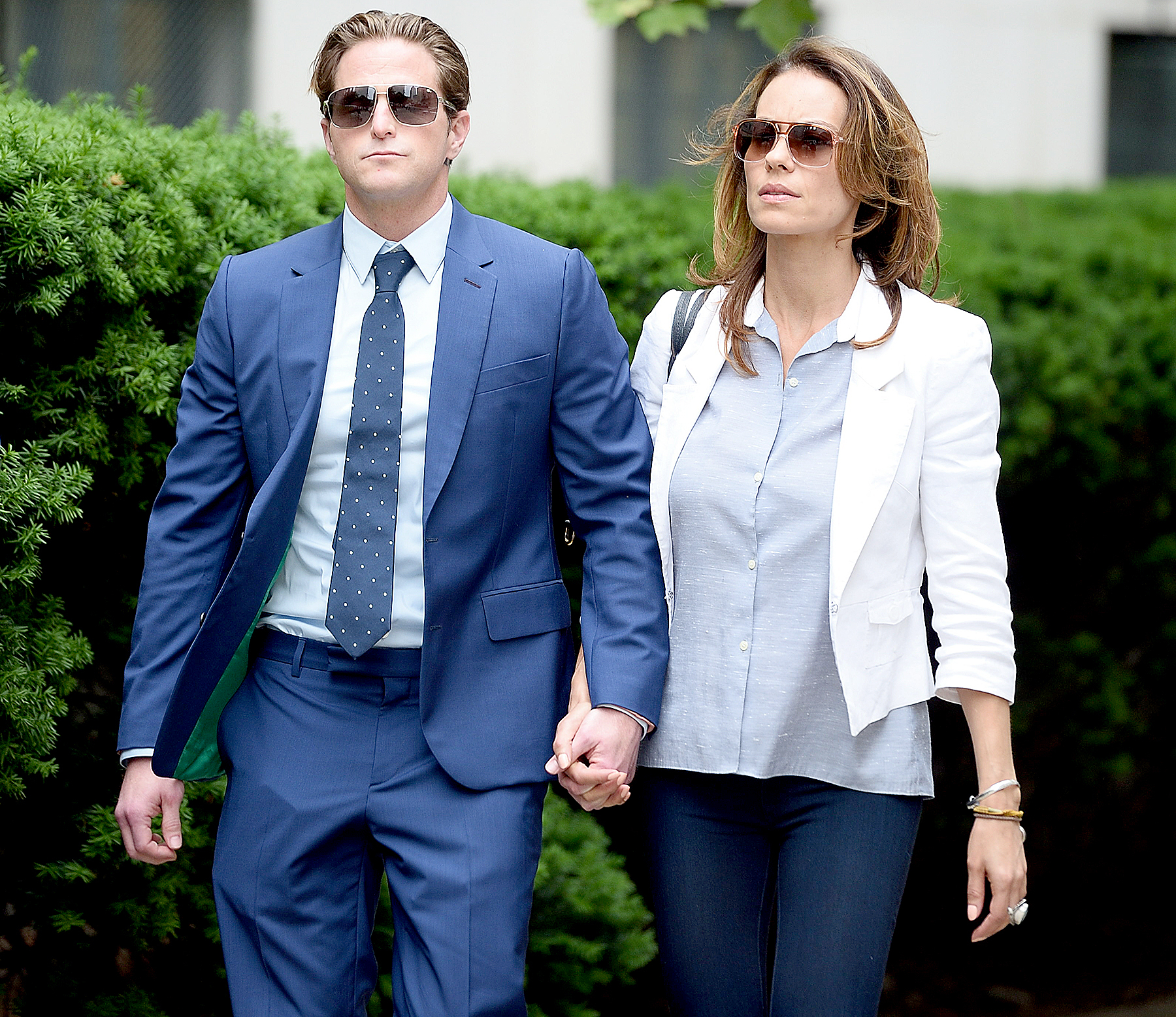 Cameron Douglas with girlfriend Viviane Thibes leave court hand in hand in NYC on June 21, 2017.