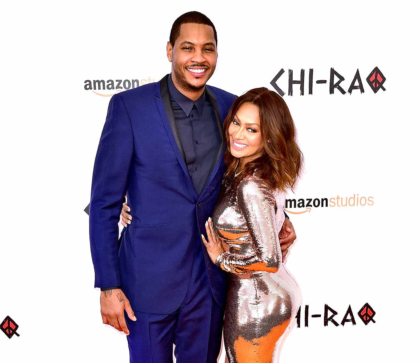 Carmelo Anthony and La La Anthony attend the 'CHI-RAQ' New York premiere at the Ziegfeld Theater on December 1, 2015 in New York City.