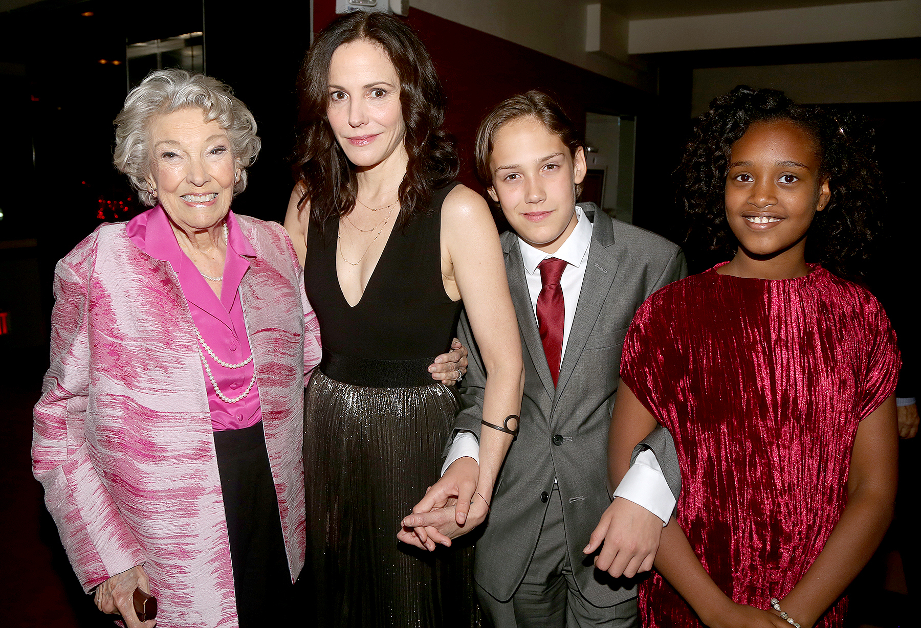 "Caroline Louise Morelli Parker, daughter Mary-Louise Parker, son William Atticus Crudup and daughter Caroline Aberash Parker pose at The Opening Night After Party for ""Heisenberg"" on Broadway at The Copacabana on October 13, 2016 in New York City."