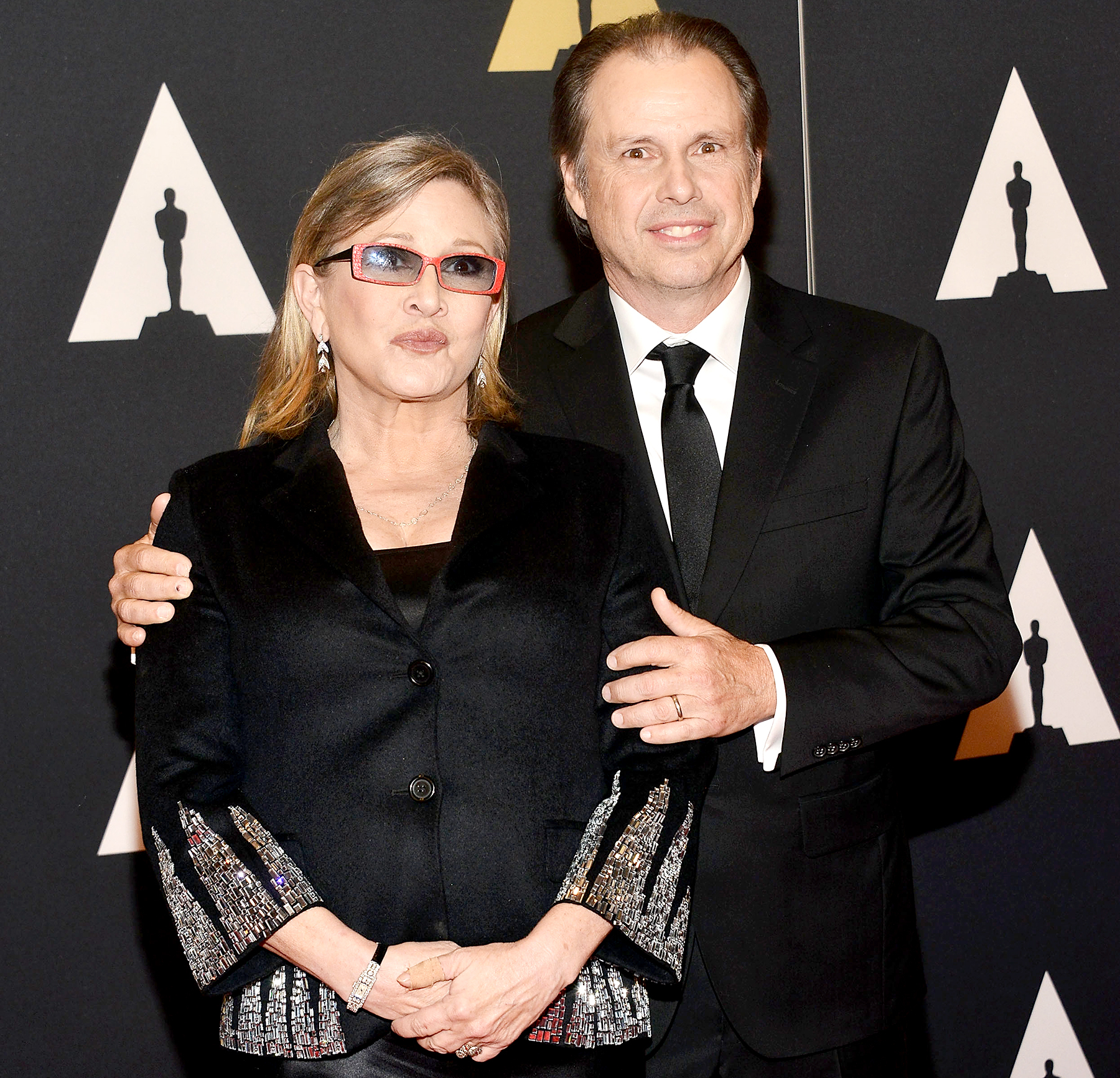Carrie Fisher and Todd Fisher attend the Academy of Motion Picture Arts and Sciences' 7th Annual Governors Awards at The Ray Dolby Ballroom at Hollywood & Highland Center on November 14, 2015 in Hollywood, California.
