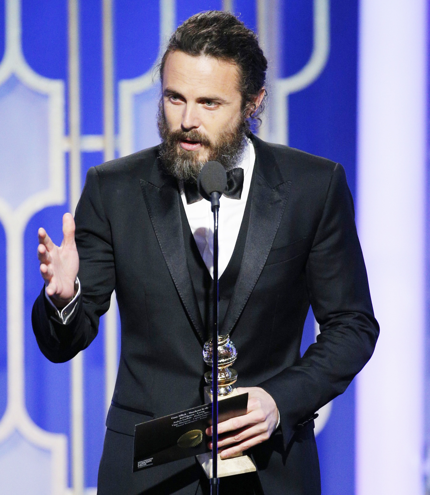 Casey Affleck accepts the award for Best Actor in a Motion Picture - Drama for his role in