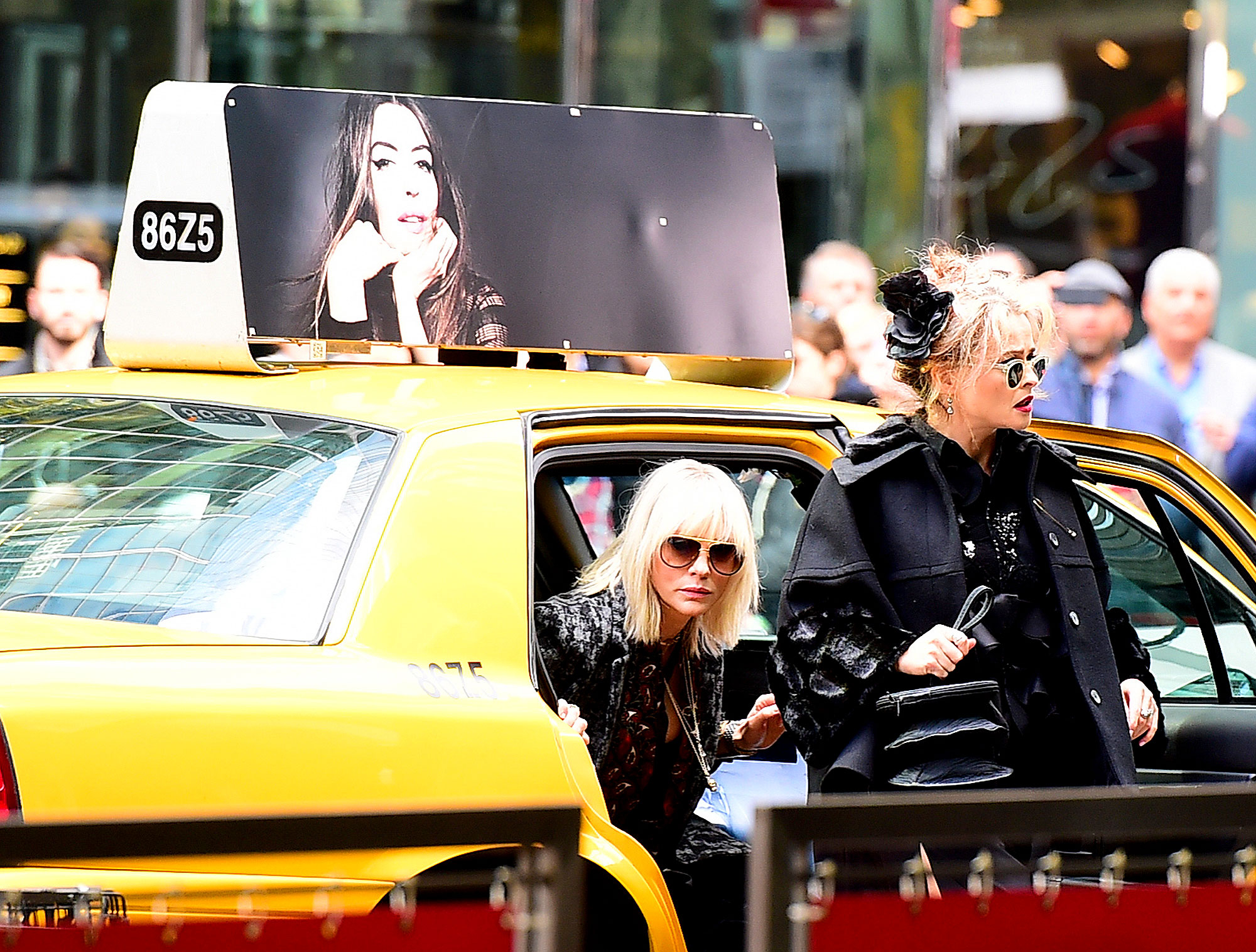Cate Blanchett and Helena Bonham Carter are seen on the set of 'Ocean's 8' on October 26, 2016 in New York City.