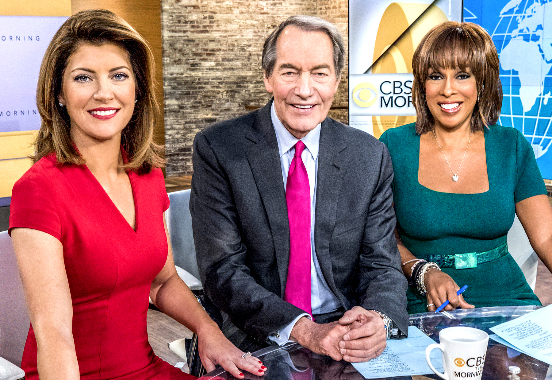 CBS This Morning: Norah O'Donnell, Charlie Rose and Gayle King.