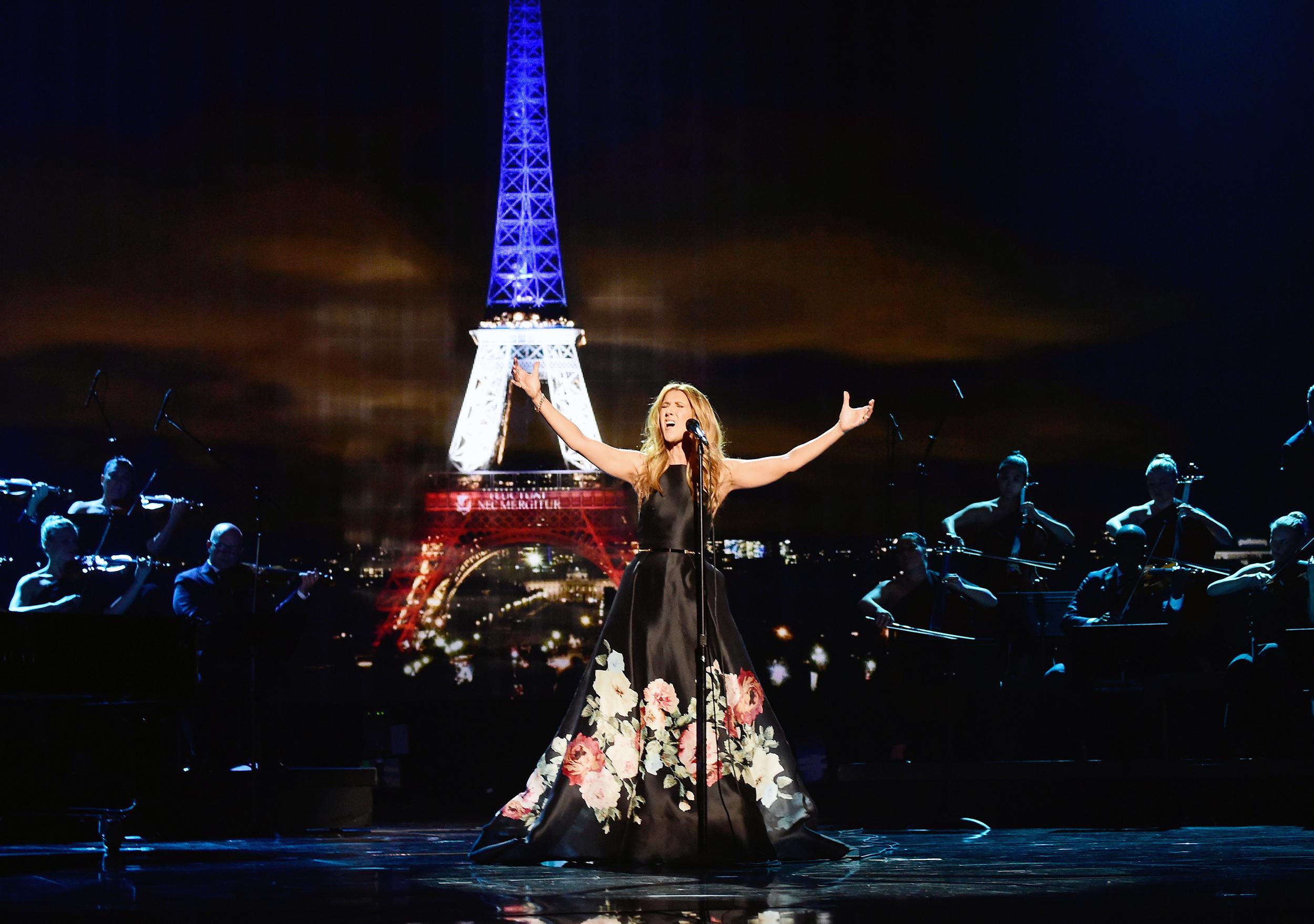 Celin Dion performing at 2015 AMAs