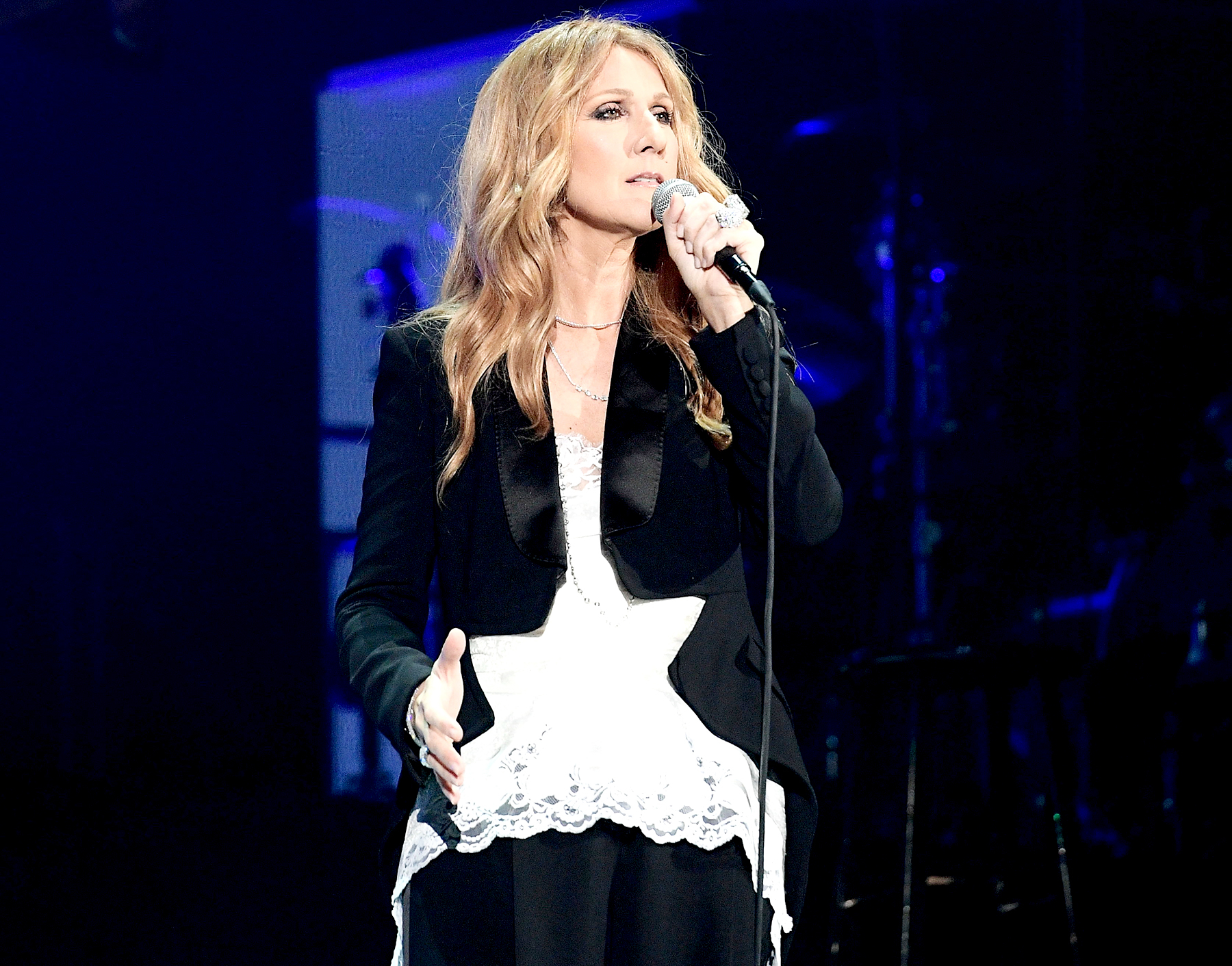 Celine Dion performs live at AccorHotels Arena Paris-Bercy in 2016.