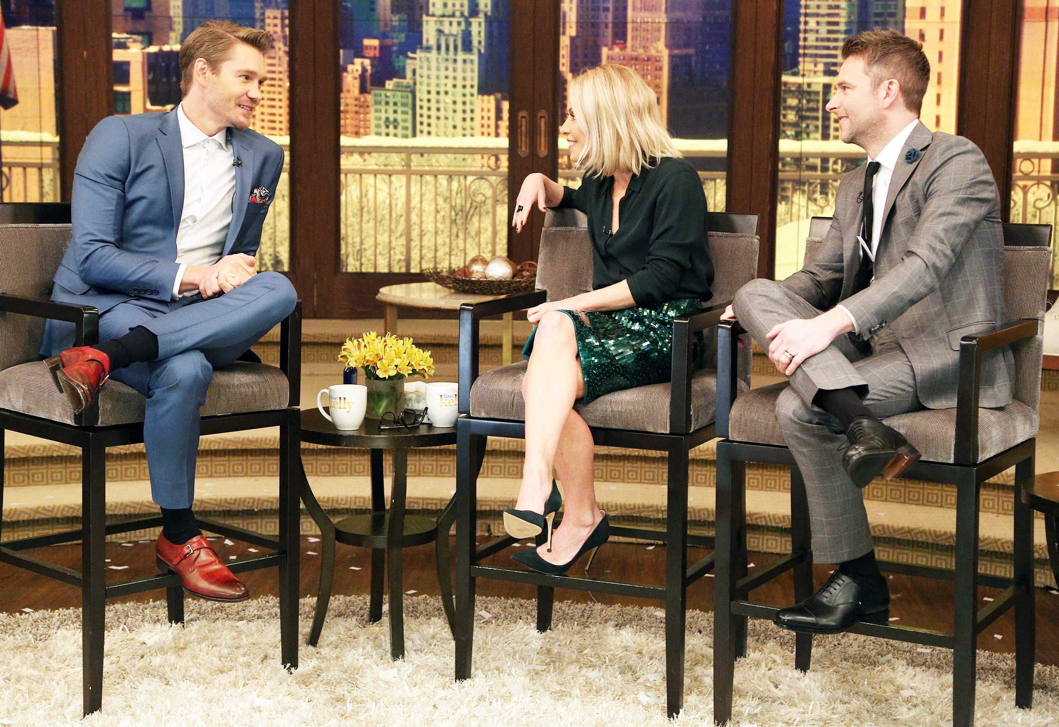 Chad Michael Murray, Kelly Ripa and guest co-host Chris Hardwick