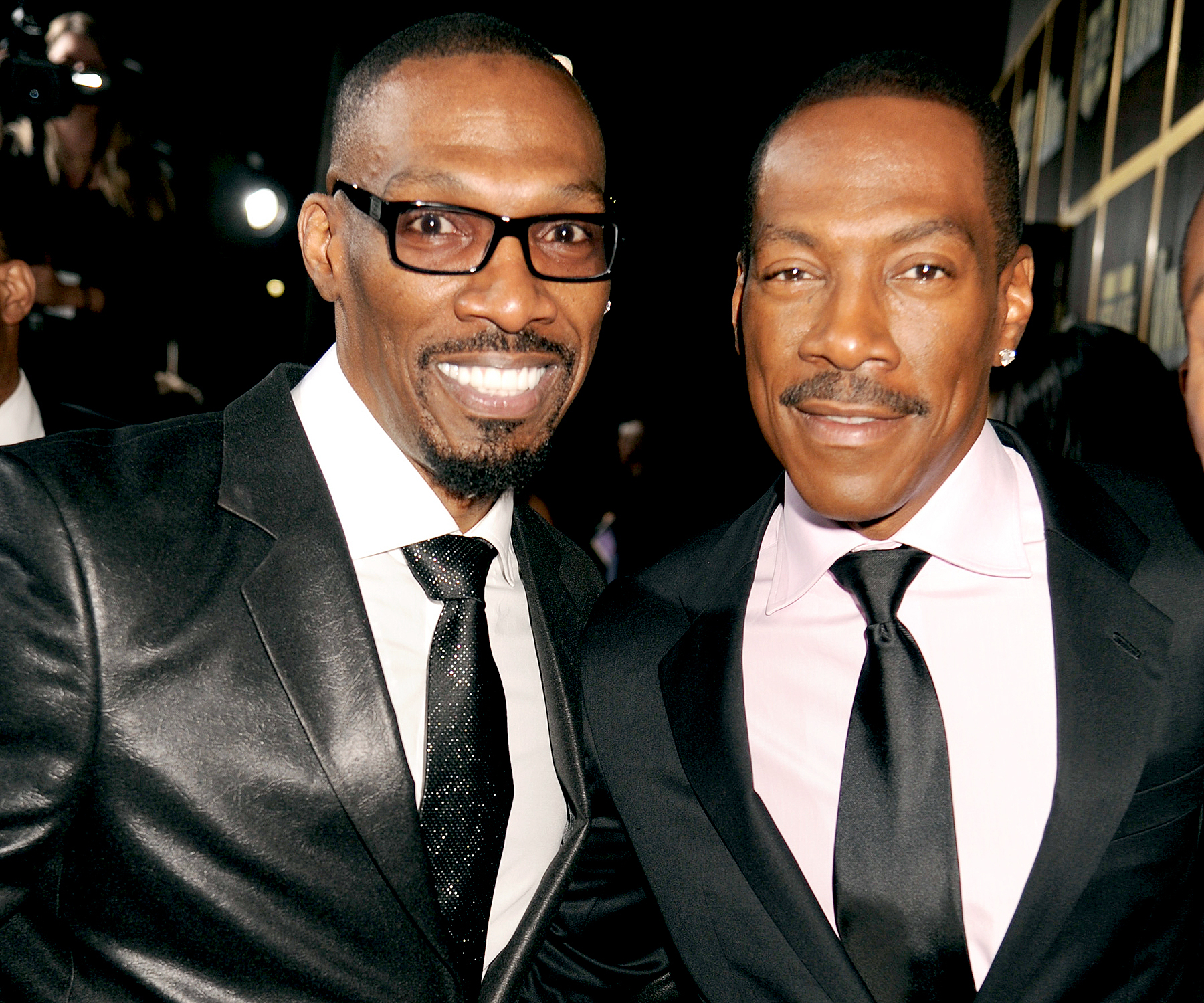 "Charlie Murphy and Eddie Murphy arrive at Spike TV's ""Eddie Murphy: One Night Only"" at the Saban Theatre on November 3, 2012 in Beverly Hills, California."