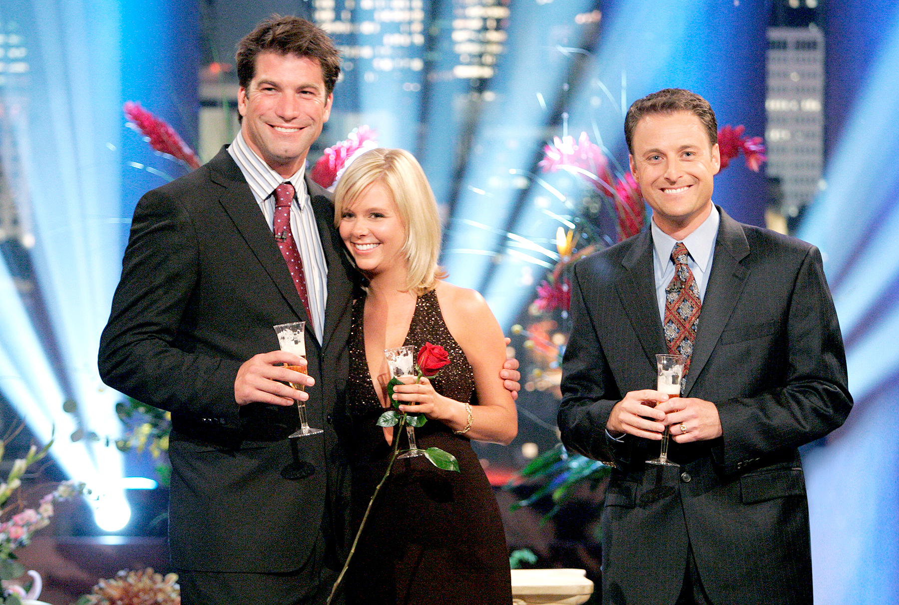 "Charlie O'Connell, Sarah B. and Chris Harrison (right) celebrated with a champagne toast on ""The Bachelor: Final Rose Live."""