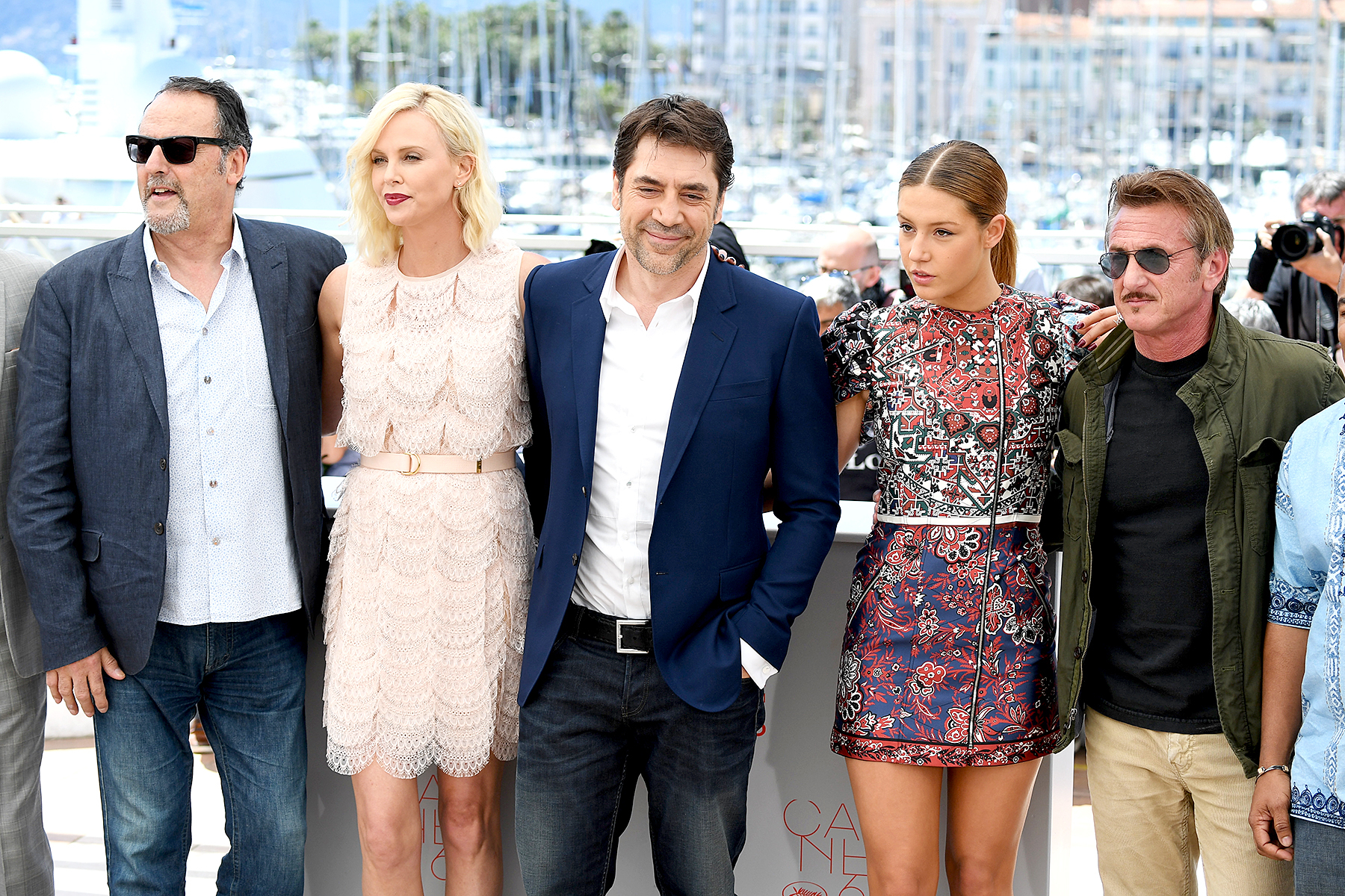 Jean Reno, Charlize Theron, Javier Bardem, Adele Exarchopoulos and Sean Penn (from left) attend 'The Last Face' Photocall during The 69th Annual Cannes Film Festival on May 20, 2016 in Cannes.