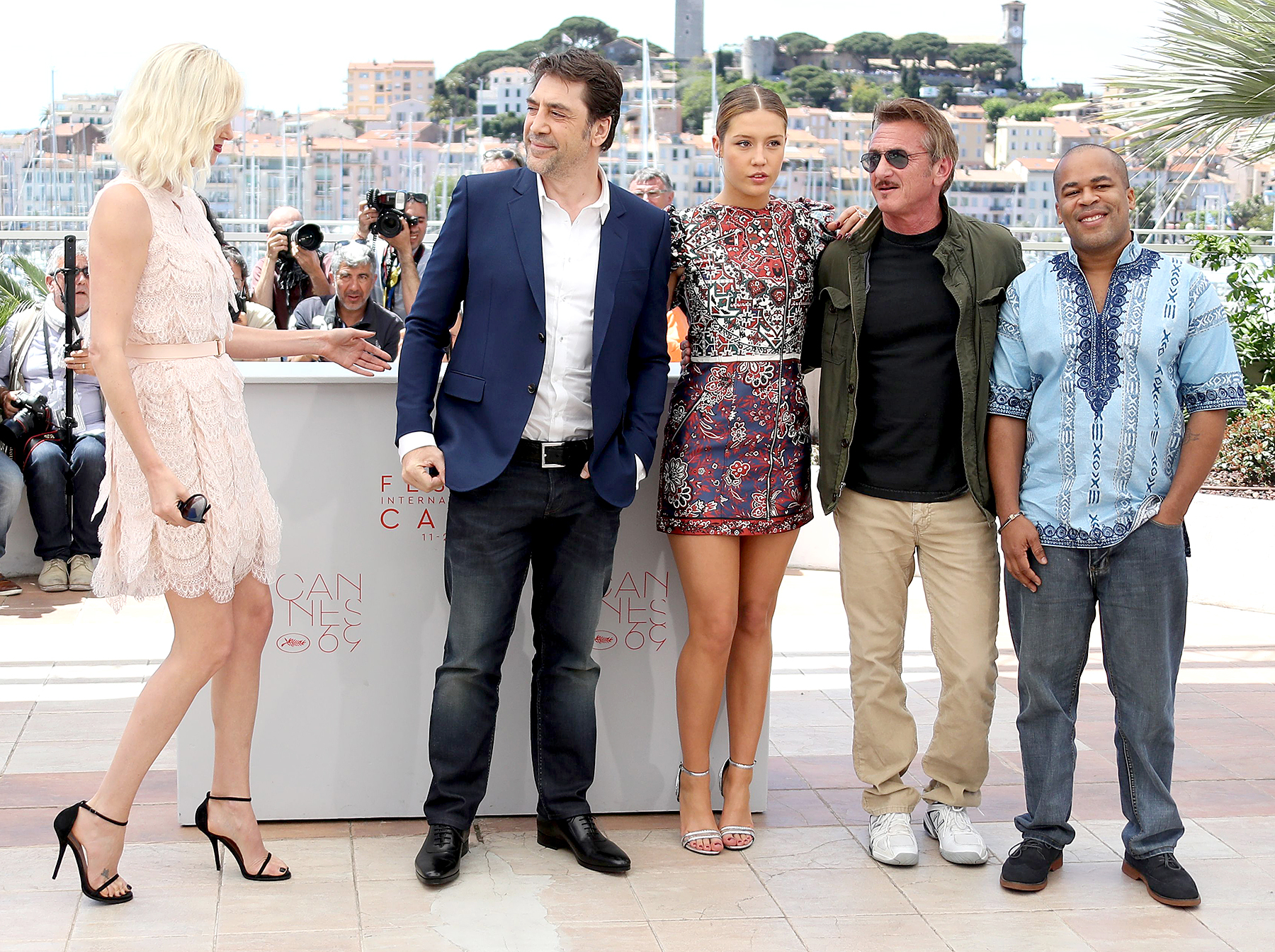 Charlize Theron, Javier Bardem, Adele Exarchopoulos, Sean Penn and Zubin Cooper (from left) pose on May 20, 2016 during a photocall for the film.