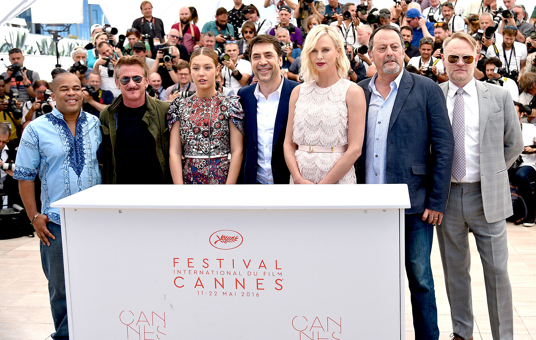 Zubin Cooper, Sean Penn, Adele Exarchopoulos, Javier Bardem, Charlize Theron, Jean Reno and Jared Harris (from left) pose on May 20, 2016 during a photocall for the film.