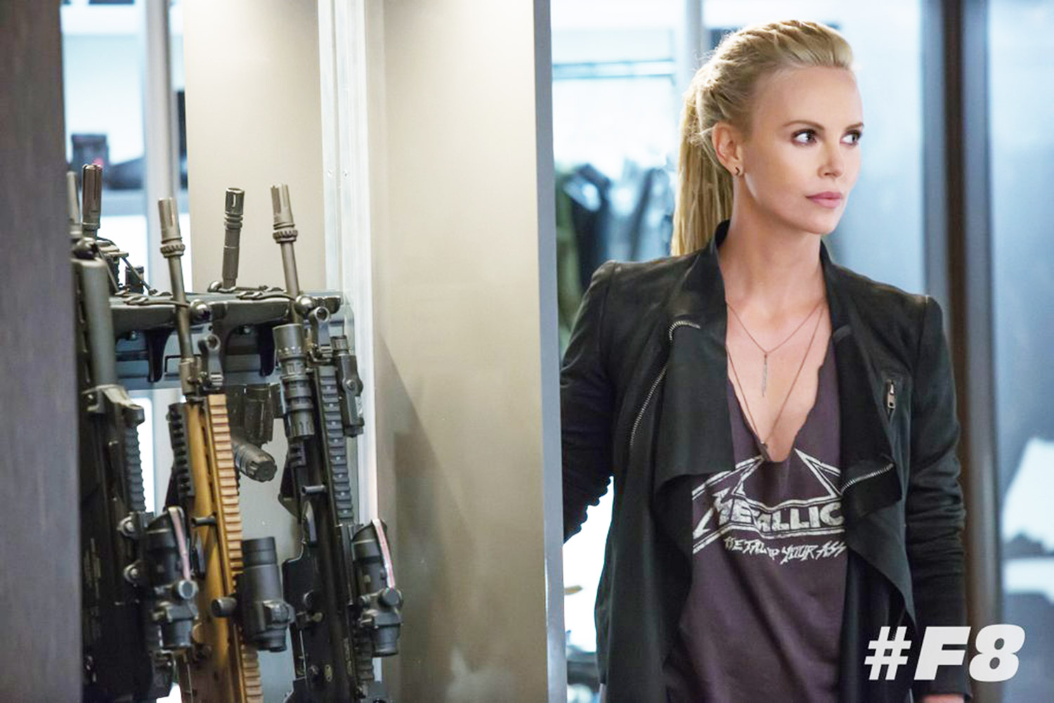 charlize theron is a sexy badass in 39 fast 8 39 first photo. Black Bedroom Furniture Sets. Home Design Ideas