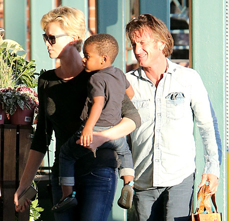 Charlize Theron, Jackson and Sean Penn