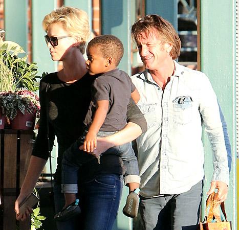 Charlize Theron, Jackson and Sean Penn