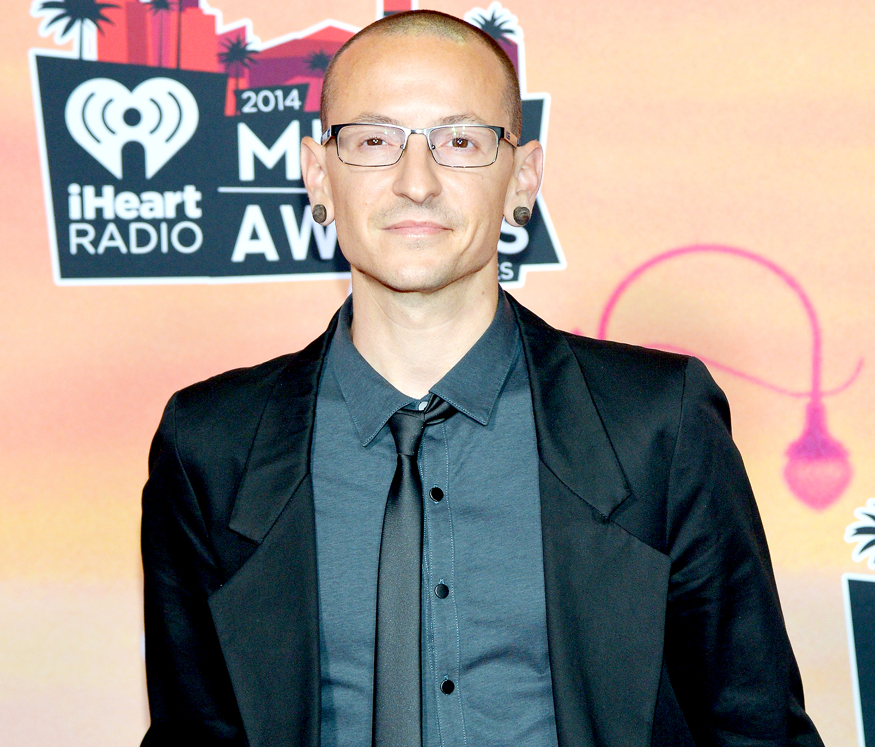 Chester Bennington poses in the press room at the iHeartRadio Music Awards held at the Shrine Auditorium on May 1, 2014.