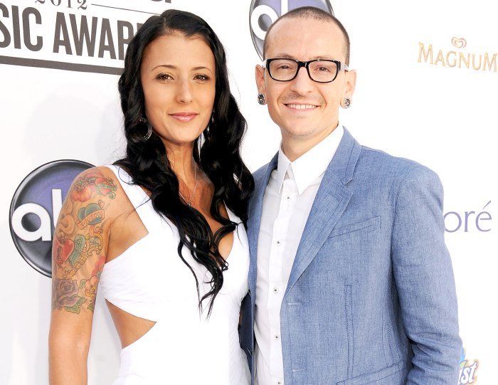 Chester Bennington of Linkin Park and wife Talinda Ann Bentley (L) arrive at the 2012 Billboard Music Awards at the MGM Grand Garden Arena on May 20, 2012 in Las Vegas, Nevada.