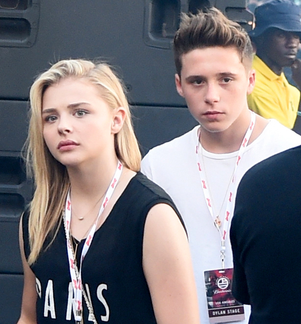 Chloe Grace Moretz and Brooklyn Beckham attend American Eagle Outfitters Celebrates The Budweiser Made in America Music Festival during day 2 at Los Angeles Grand Park on August 31, 2014 in Los Angeles, California.