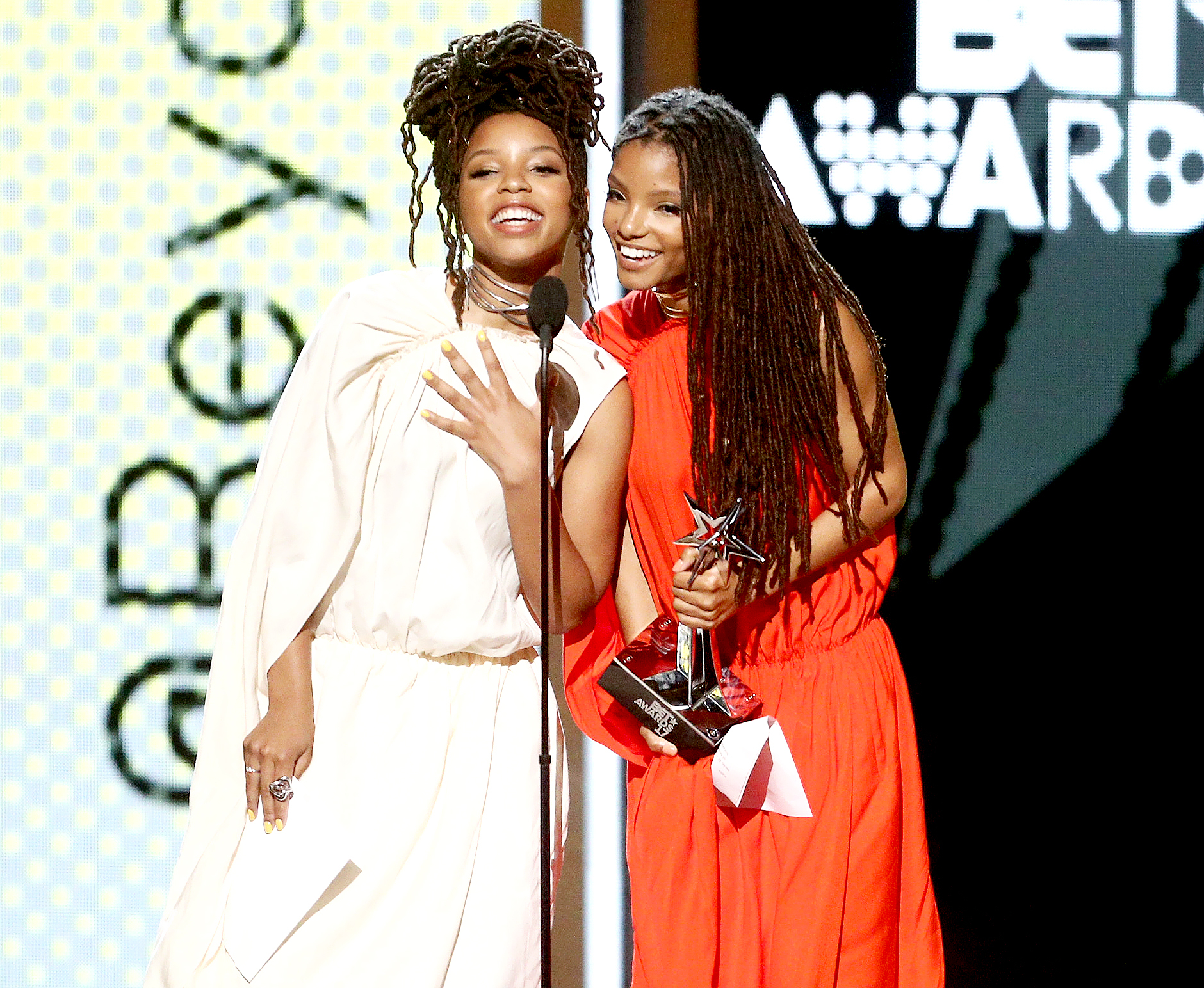 Chloe Bailey and Halle Bailey of Chloe x Halle accept Coca-Cola Viewer's Choice Award on behalf of Beyonce onstage at 2017 BET Awards at Microsoft Theater on June 25, 2017 in Los Angeles, California.