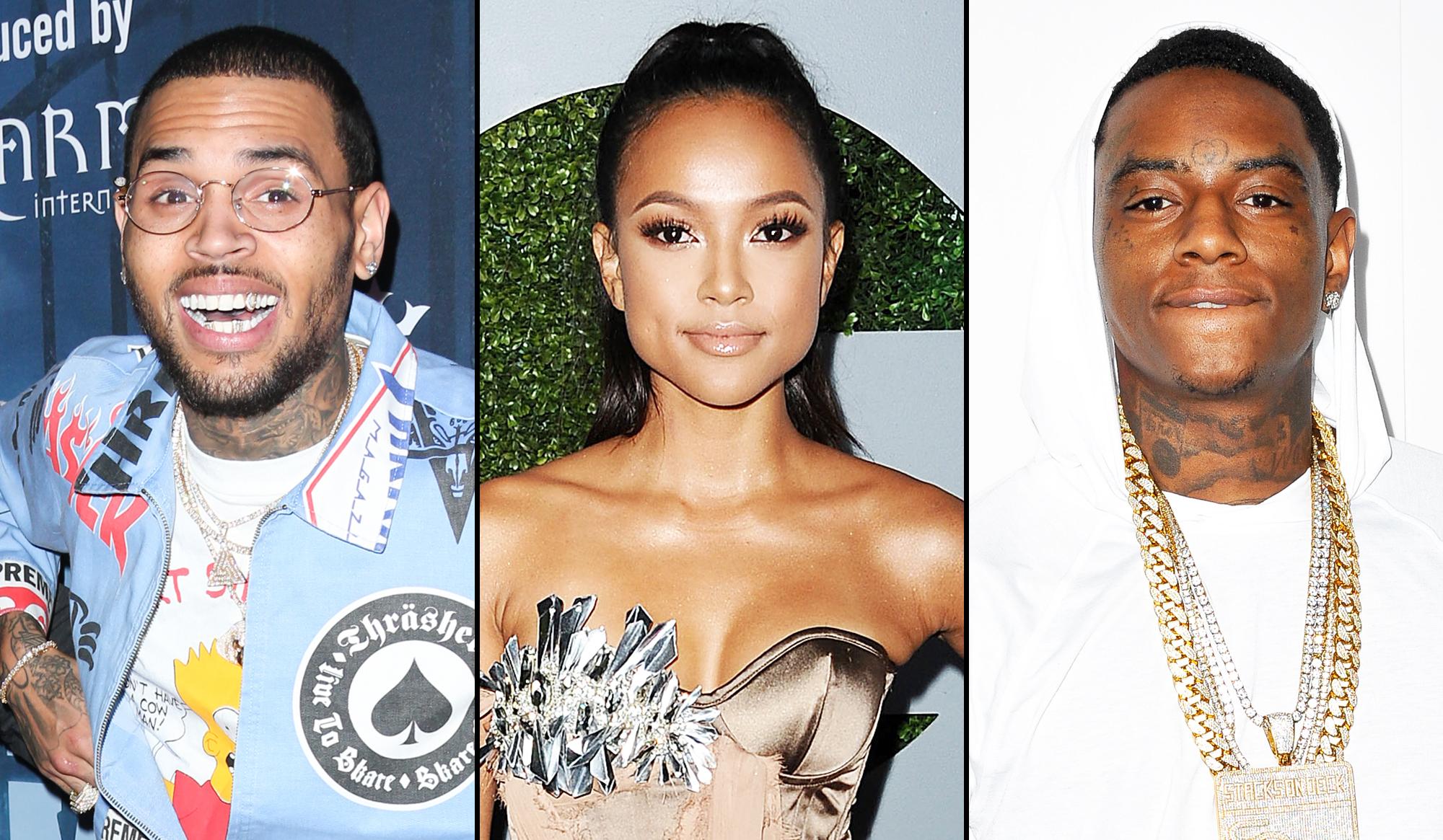 Chris Brown, Karrueche Tran and Soulja Boy